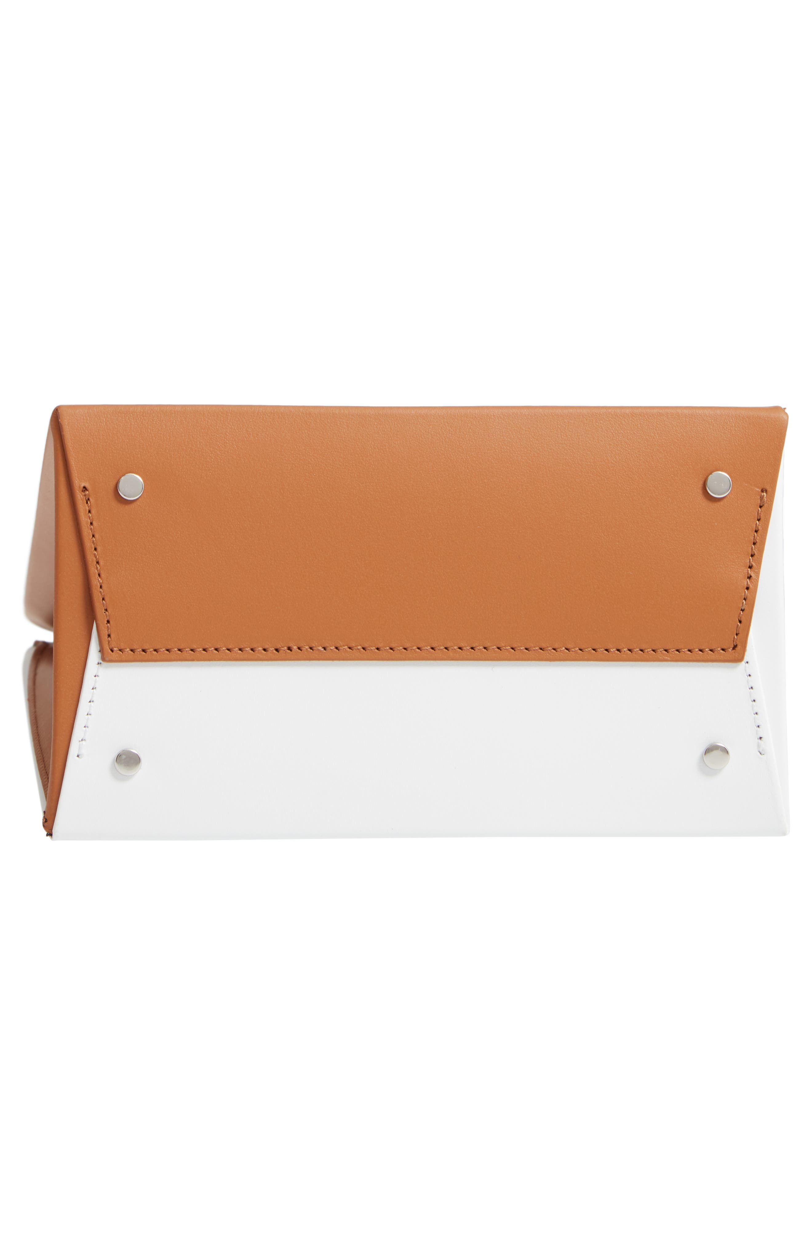 MEDEA, Prima Tall Bicolor Calfskin Leather Bag, Alternate thumbnail 6, color, BROW AND WHITE