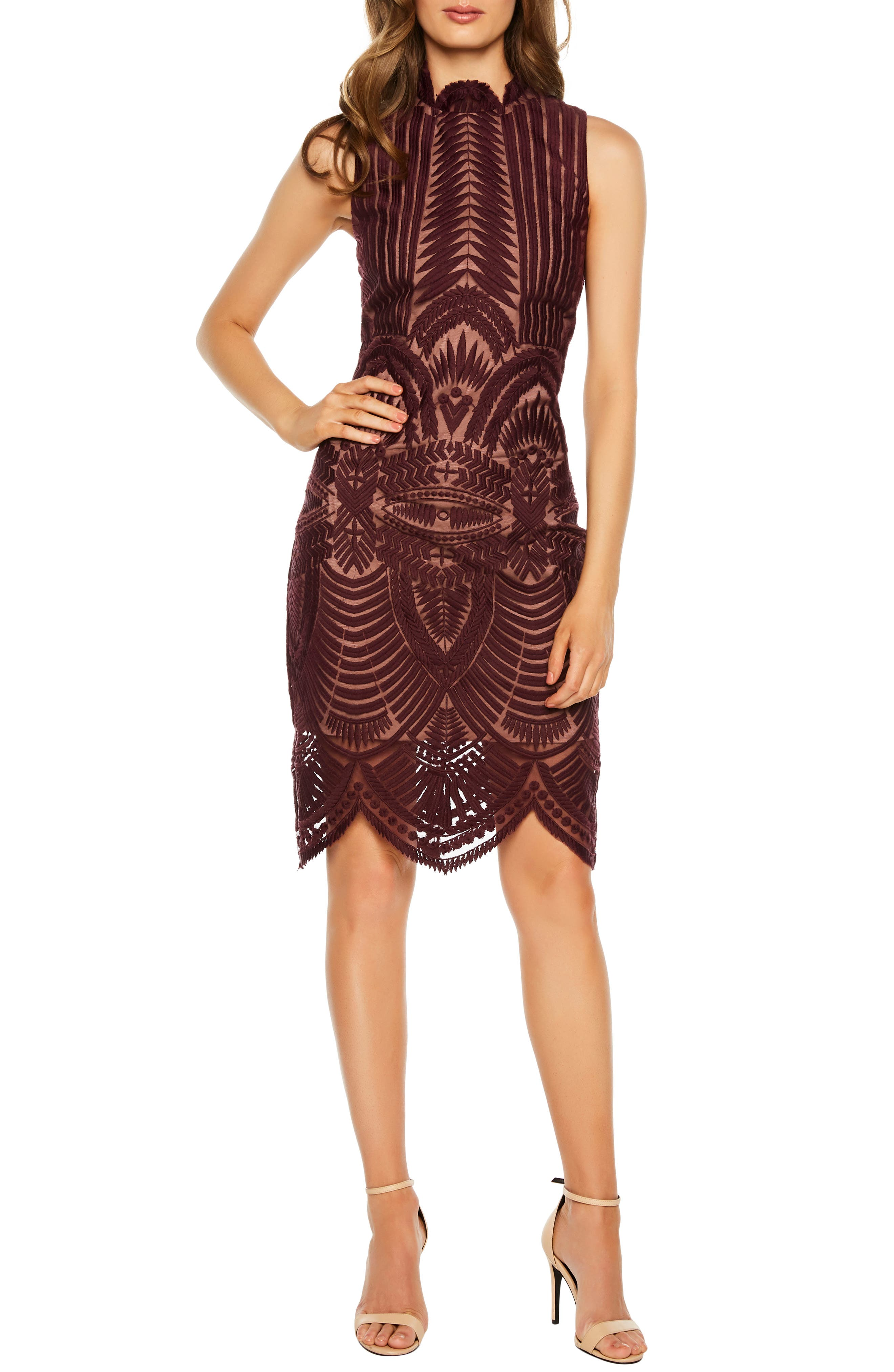 BARDOT, Alice Lace Body-Con Dress, Alternate thumbnail 6, color, 608