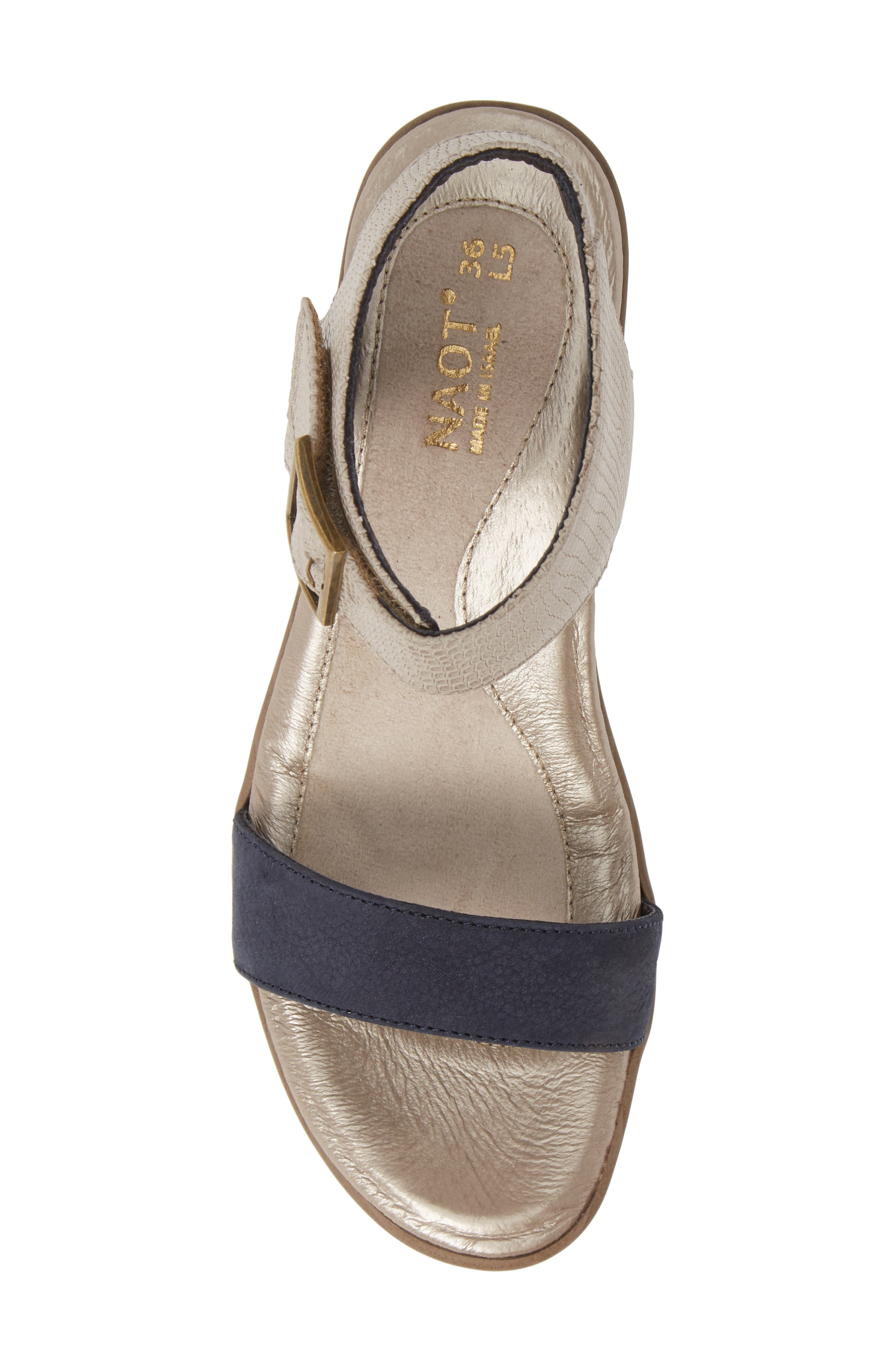 NAOT, Caprice Wedge Sandal, Alternate thumbnail 5, color, BEIGE LIZARD/ NAVY VELVET