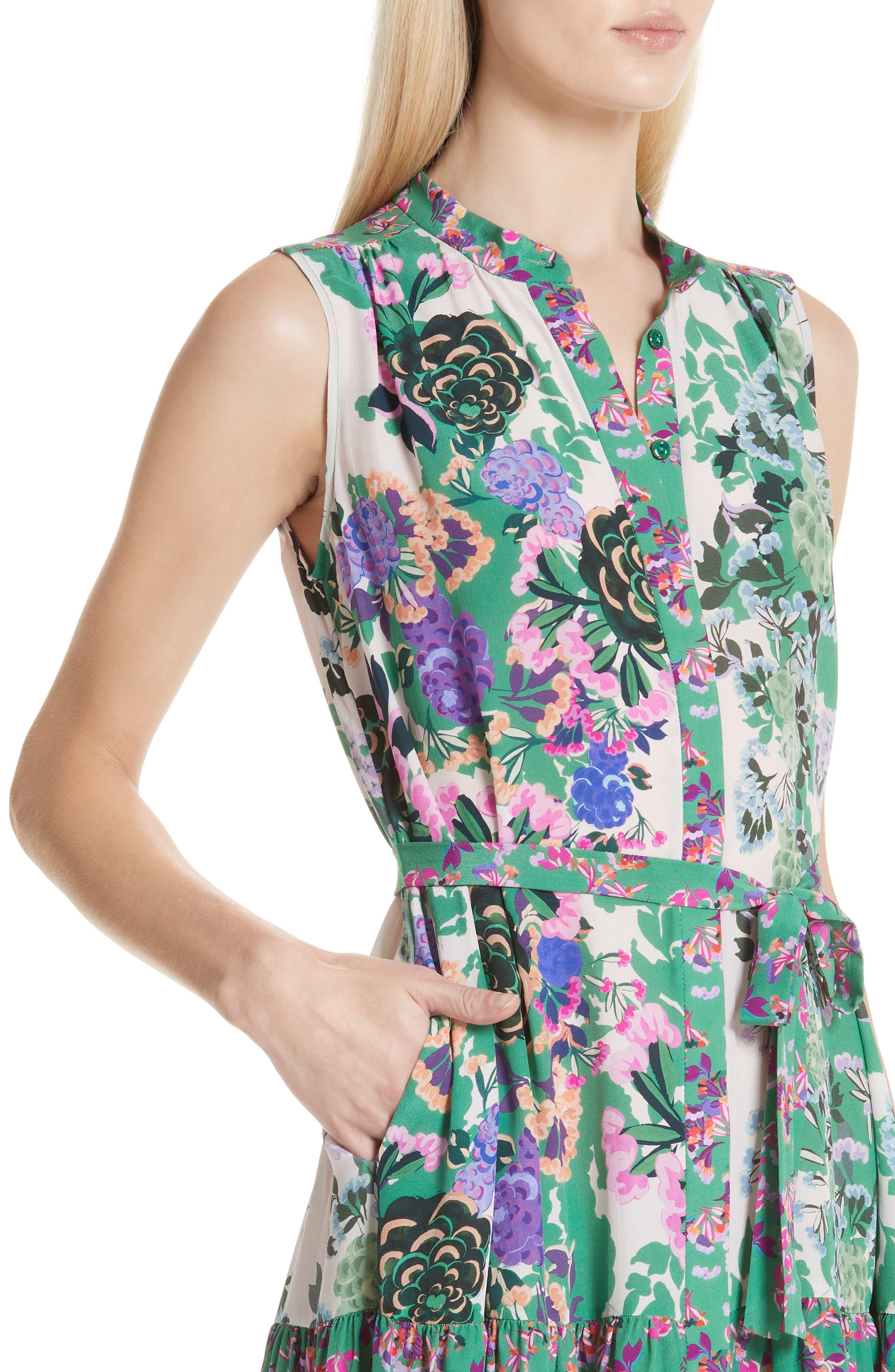 SALONI, Tilly Print Silk Dress, Alternate thumbnail 4, color, ROSE MEADOW PLMT