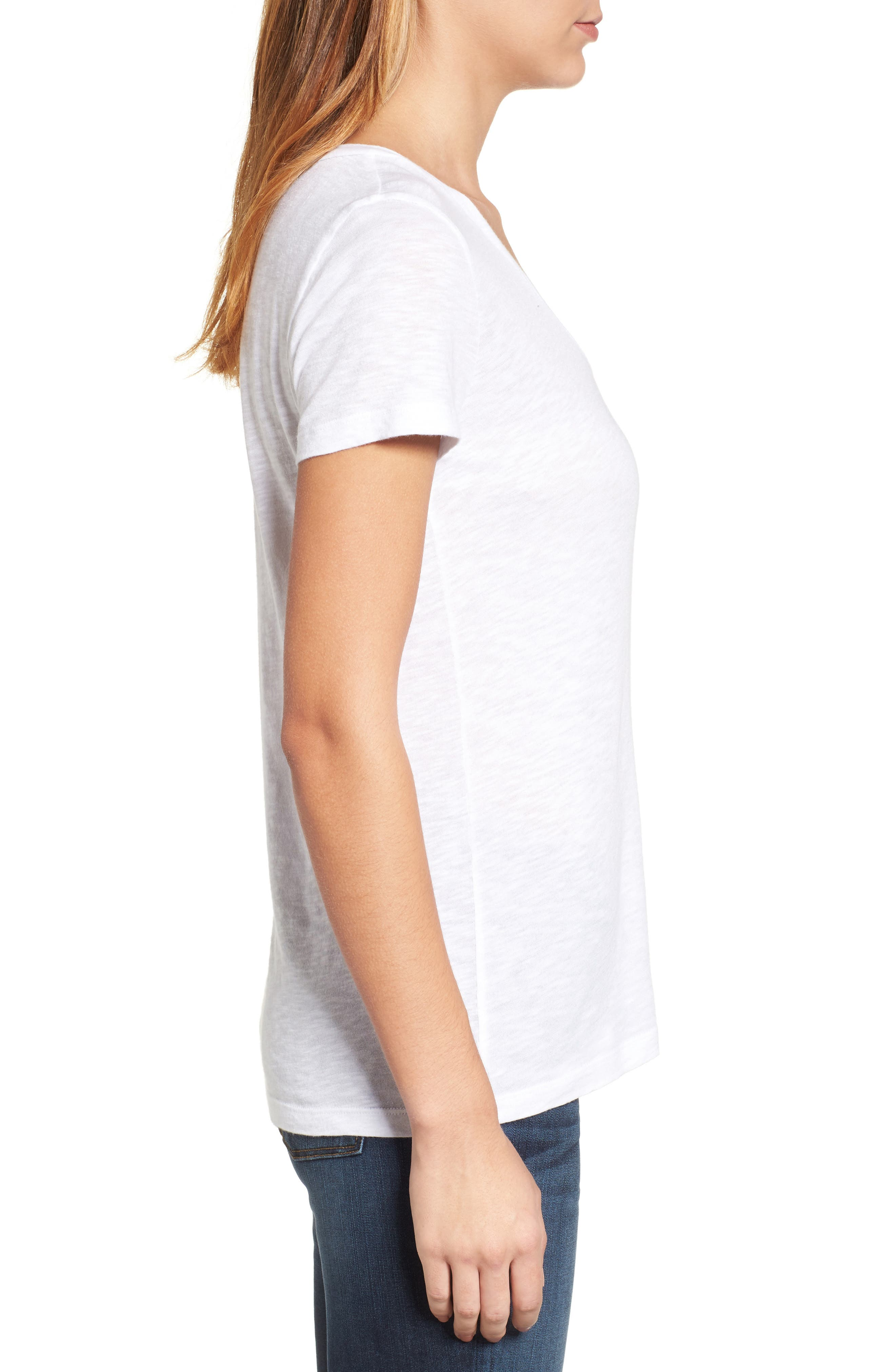 CASLON<SUP>®</SUP>, Rounded V-Neck Tee, Alternate thumbnail 4, color, WHITE