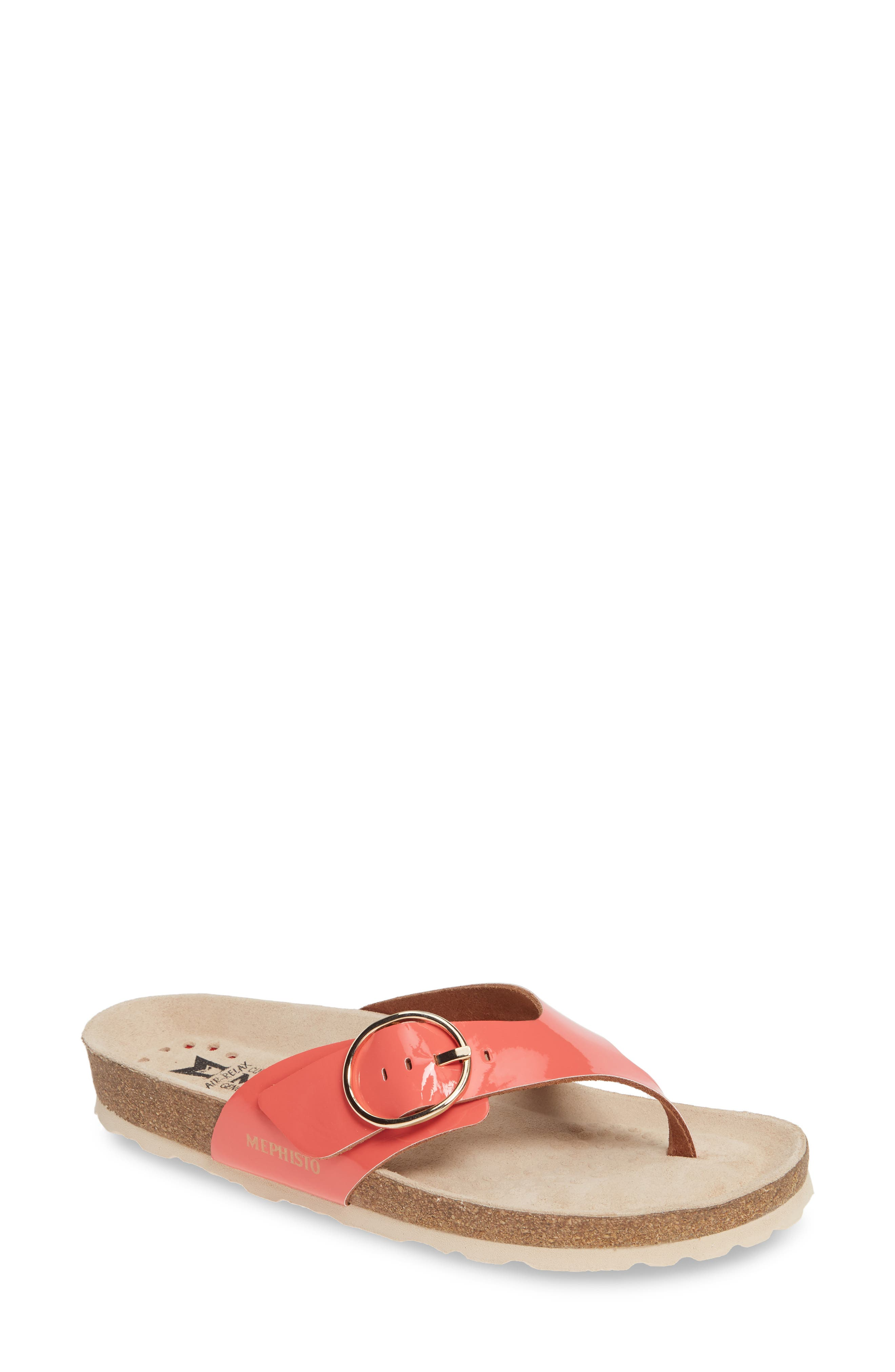 MEPHISTO, Natalina Slide Flip Flop, Main thumbnail 1, color, CORAL PATENT LEATHER