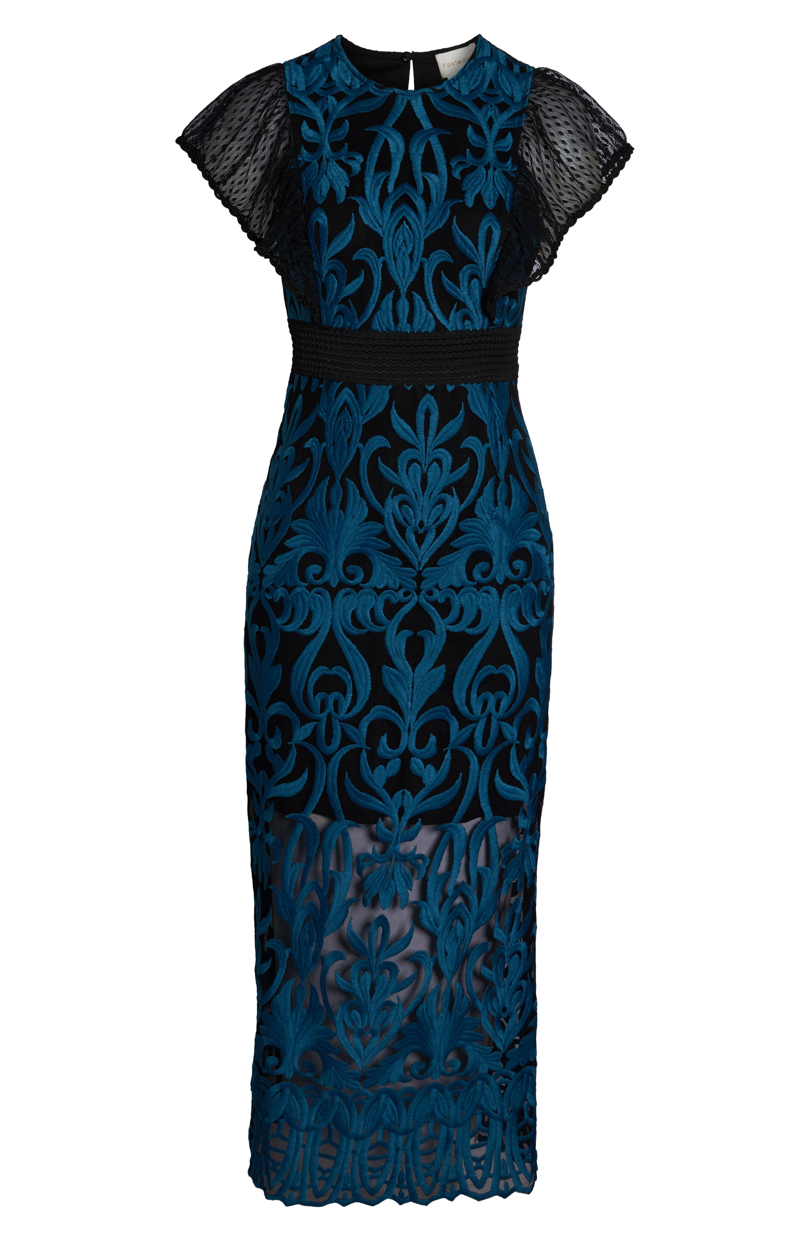 FOXIEDOX, Rosalynn Lace Midi Dress, Alternate thumbnail 7, color, 440