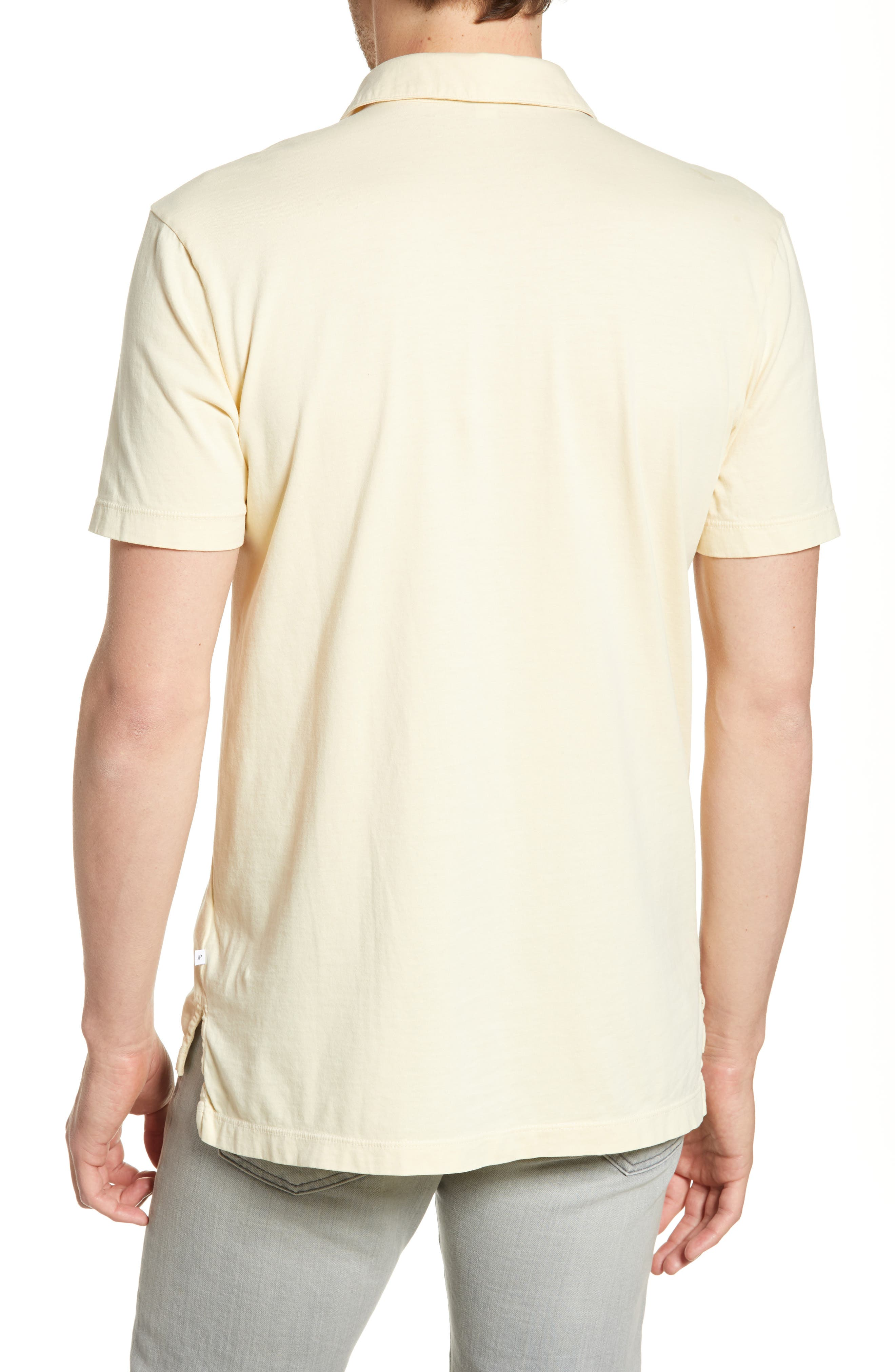 JAMES PERSE, Slim Fit Sueded Jersey Polo, Alternate thumbnail 2, color, GESSO