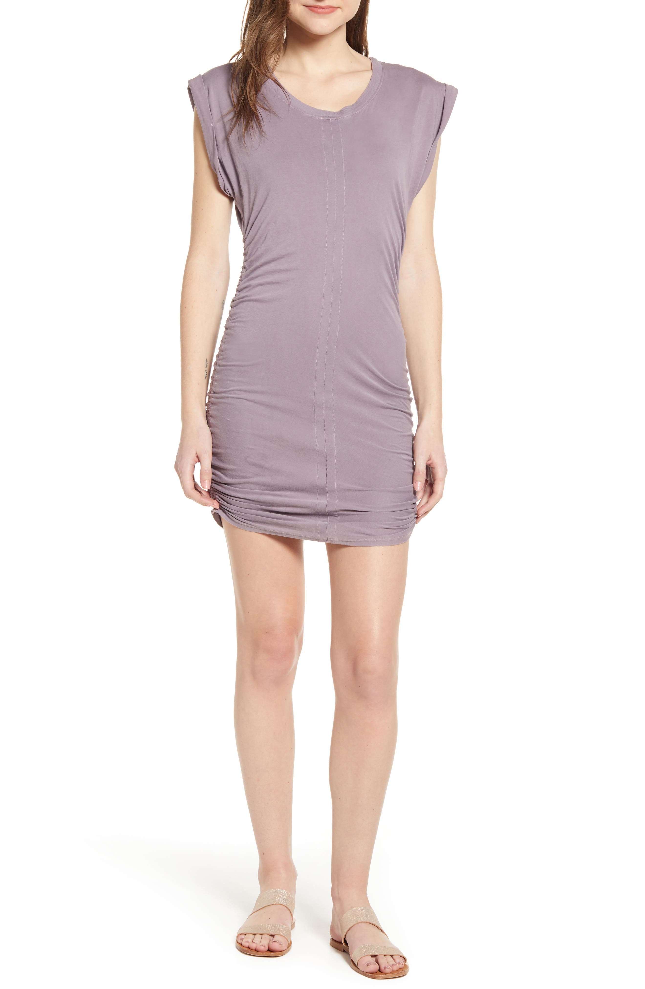 Splendid Ruched Body-Con Dress, Purple