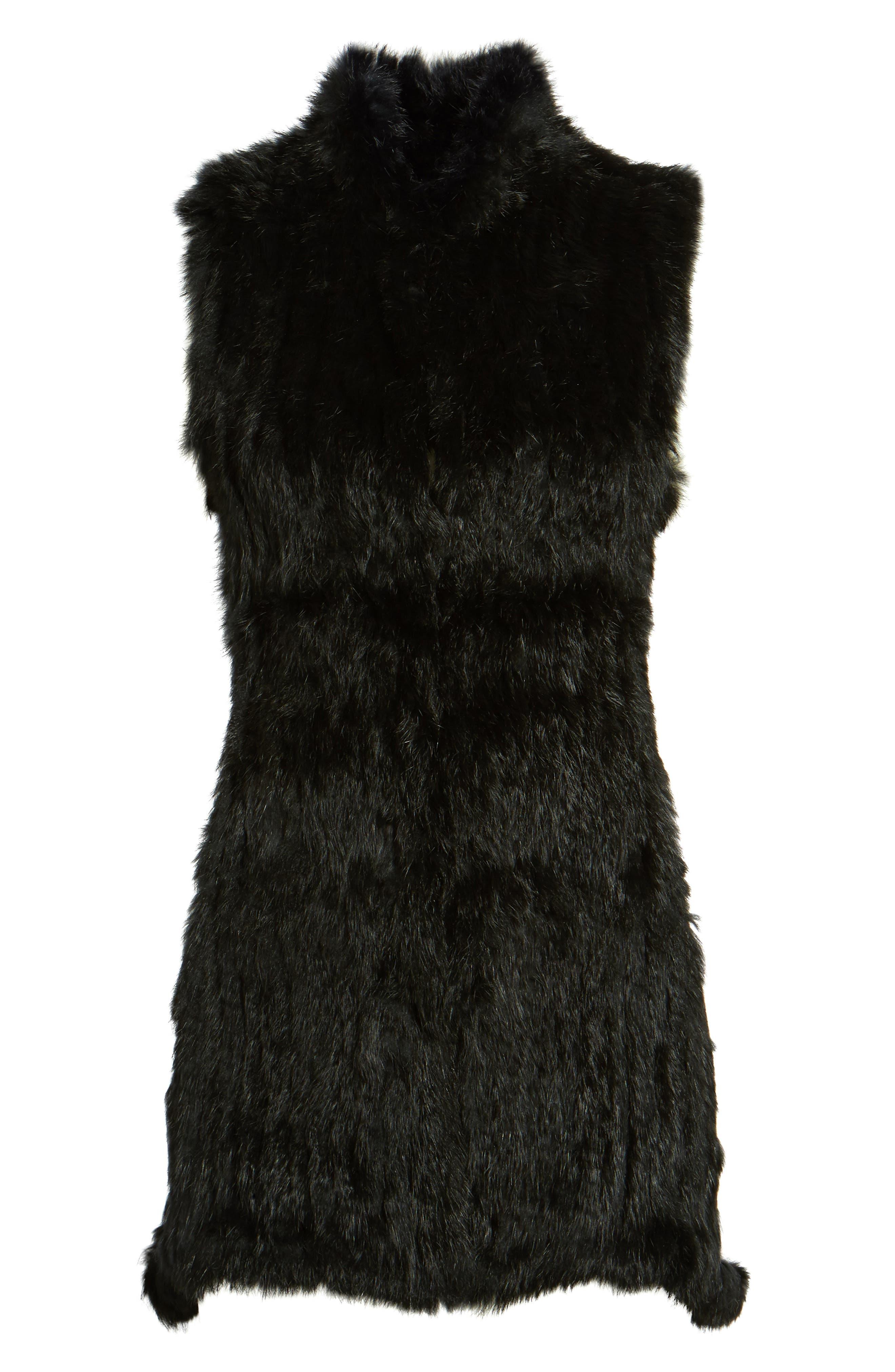 LOVE TOKEN, Genuine Rabbit Fur & Knit Vest, Alternate thumbnail 5, color, 001