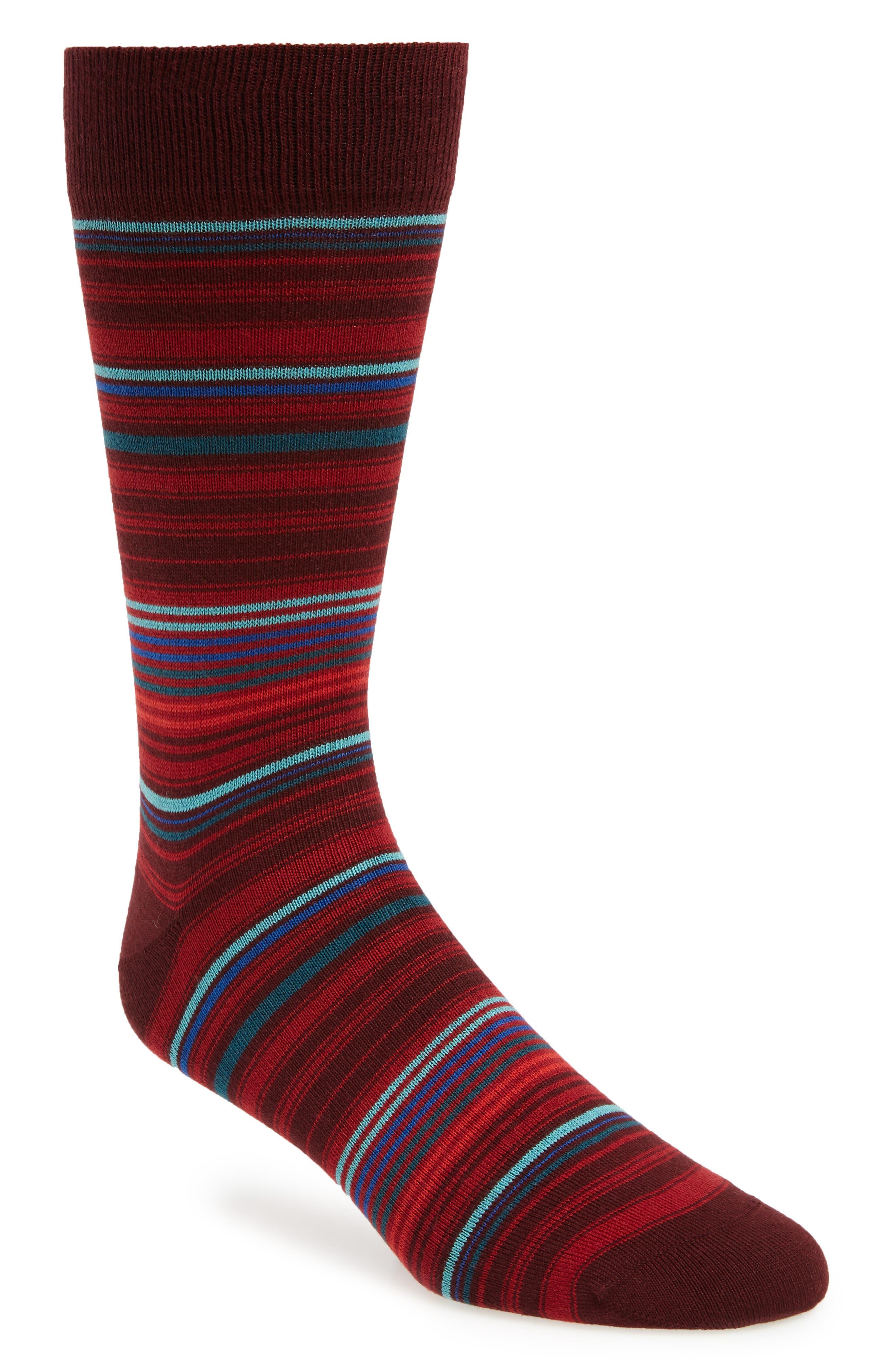 BUGATCHI, Stripe Socks, Main thumbnail 1, color, MAROON