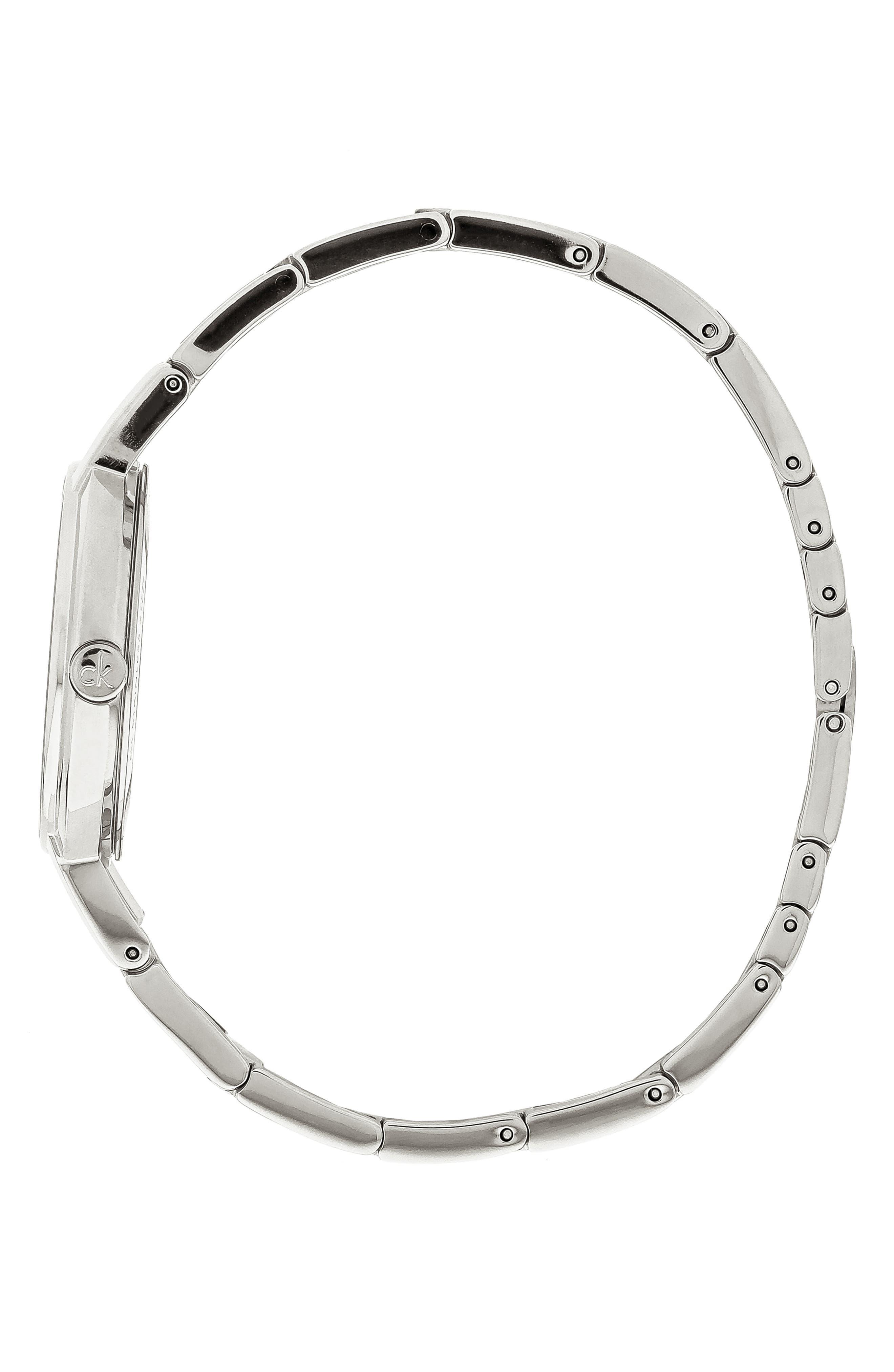 CALVIN KLEIN, Cheers Bracelet Watch, 32mm, Alternate thumbnail 3, color, SILVER/ BLACK/ SILVER