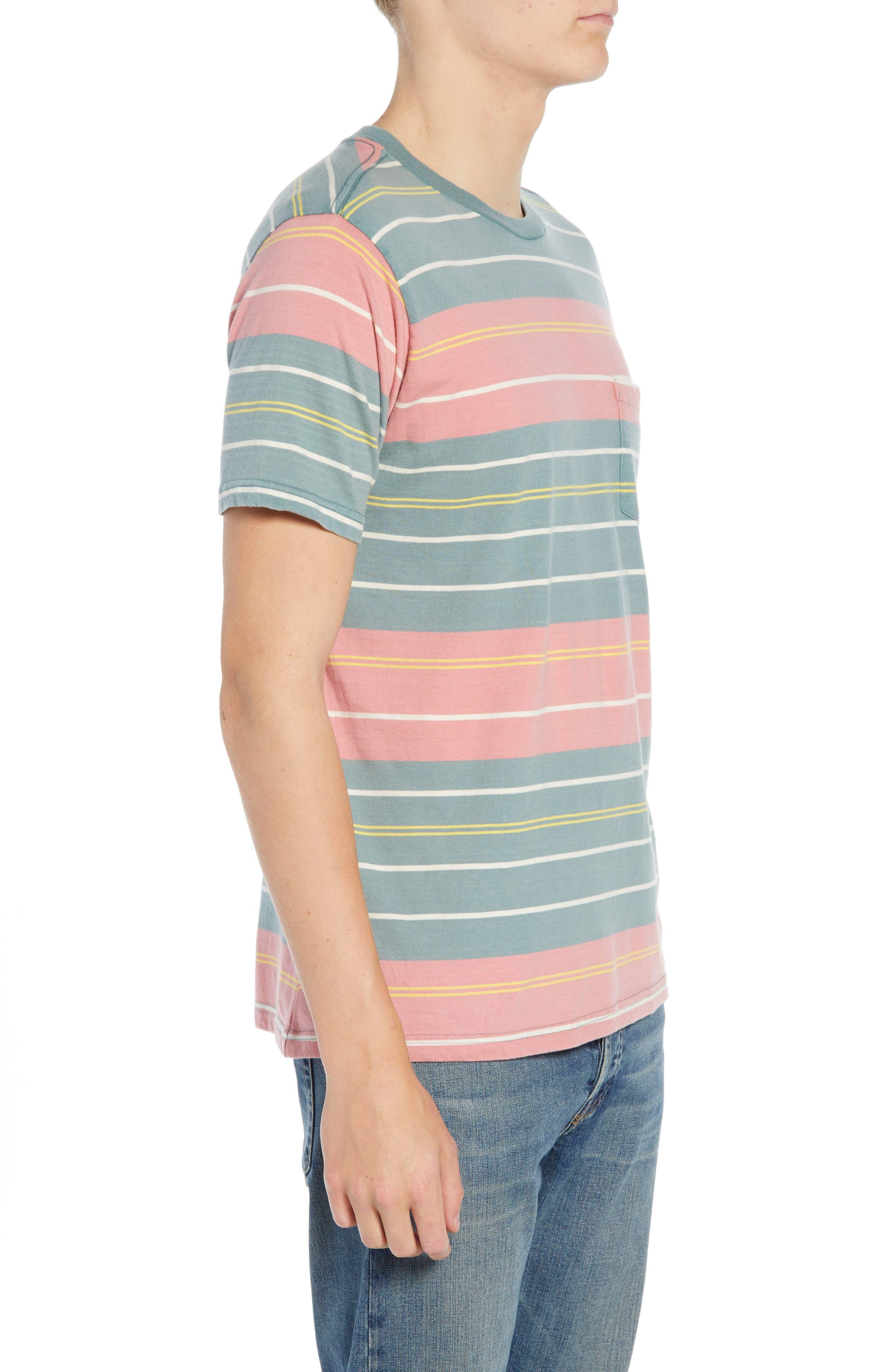 RVCA, Rusholme Stripe T-Shirt, Alternate thumbnail 3, color, PINE TREE