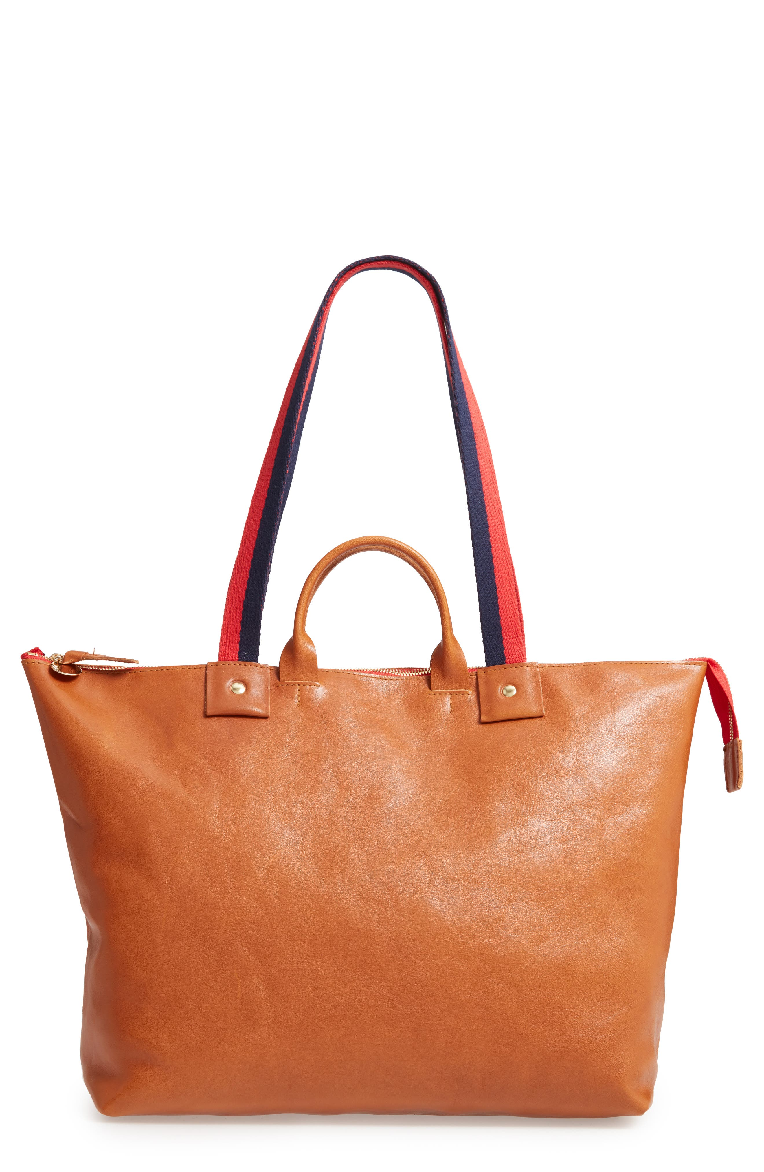 CLARE V., Le Zip Leather Tote, Main thumbnail 1, color, MIEL RUSTIC