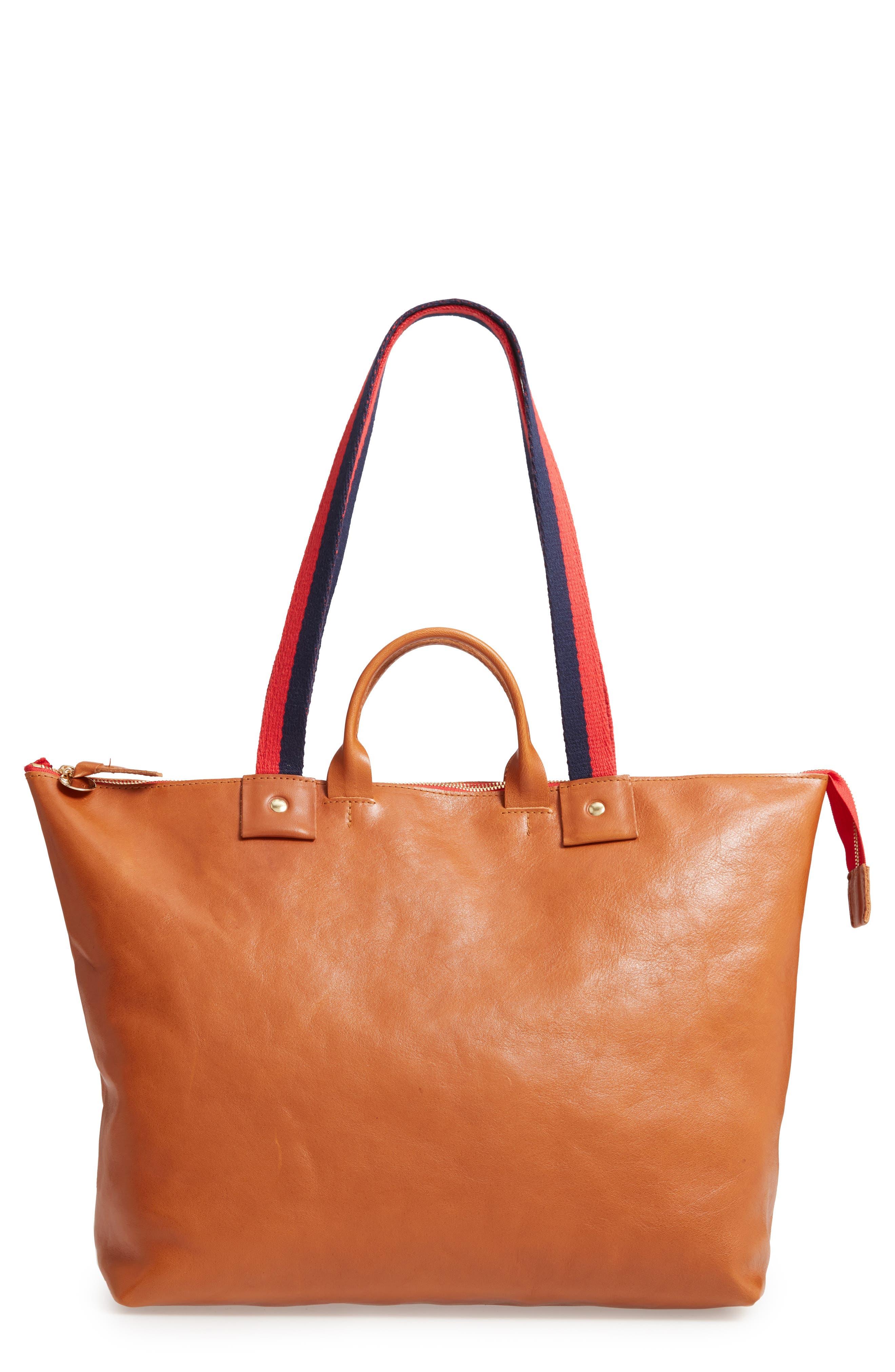 CLARE V. Le Zip Leather Tote, Main, color, MIEL RUSTIC