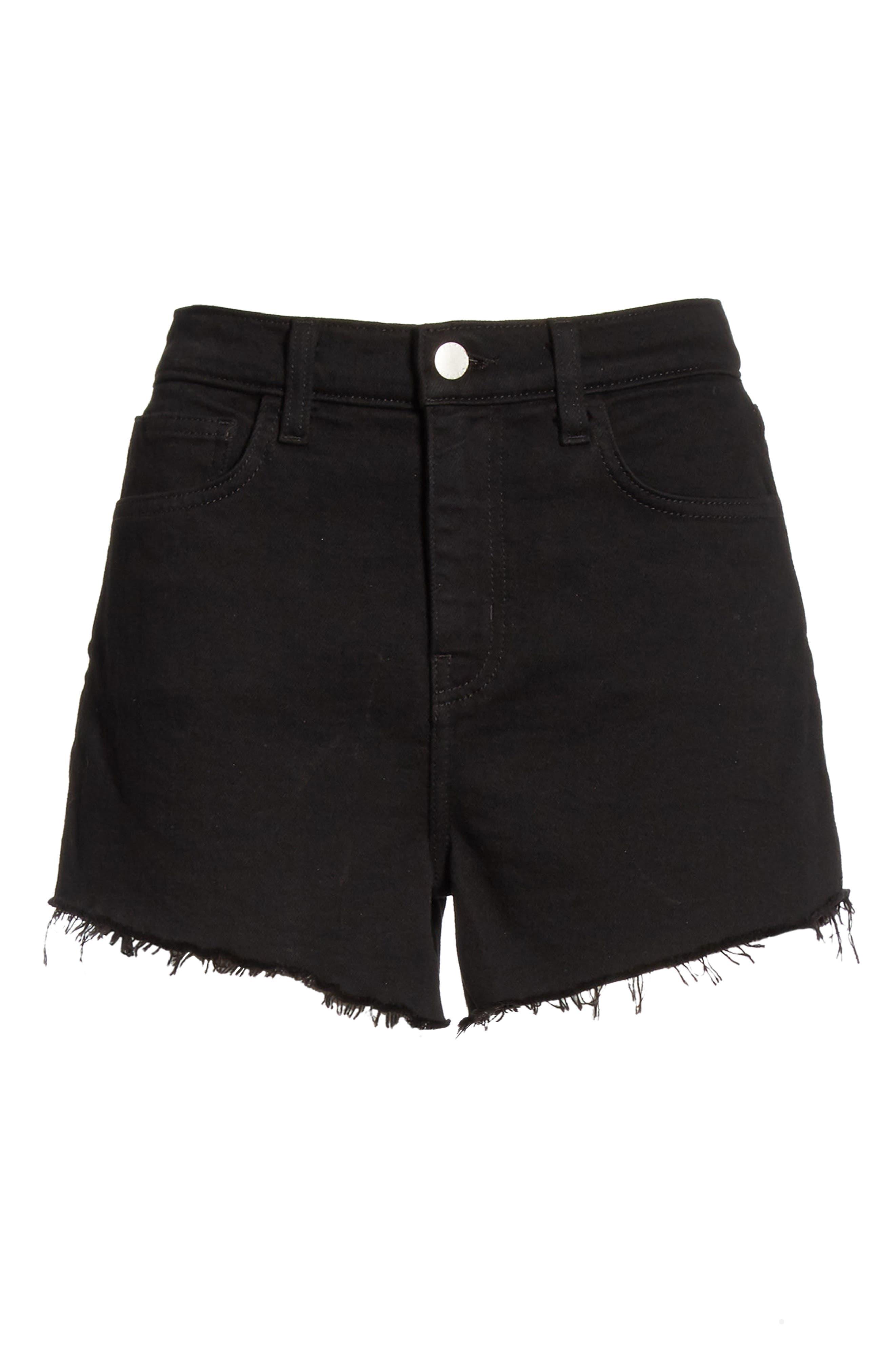 L'AGENCE, Ryland High Waist Denim Shorts, Alternate thumbnail 7, color, NOIR