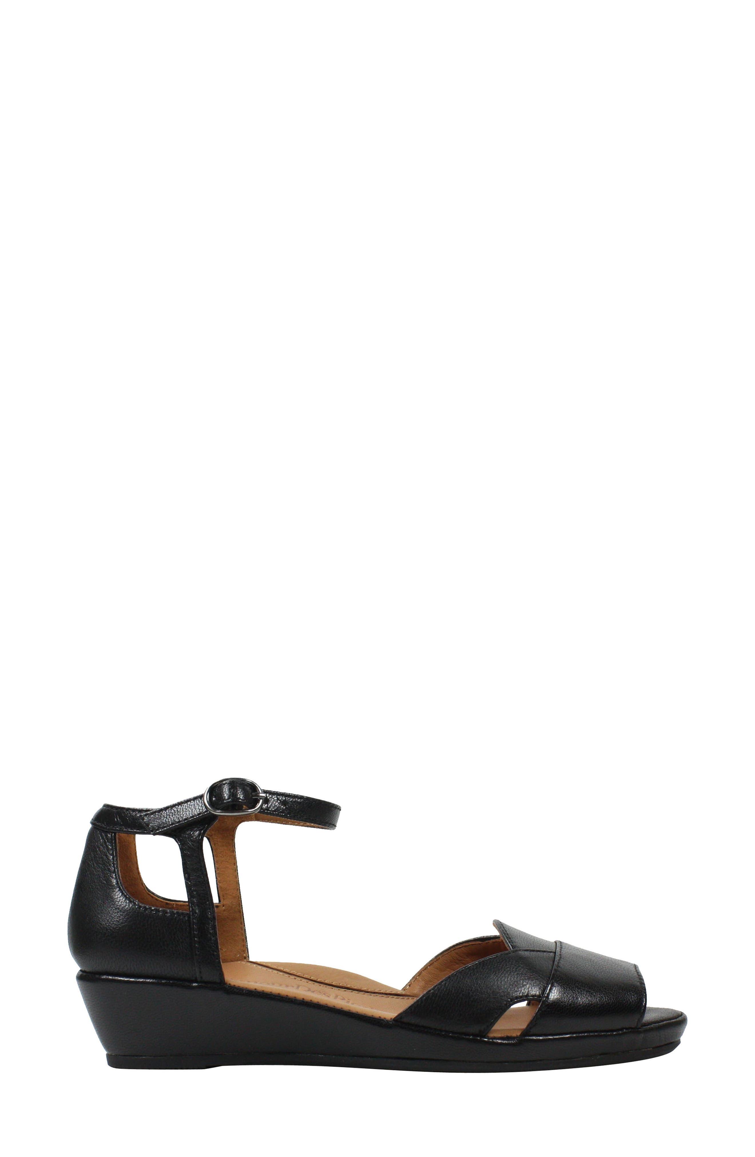 L'AMOUR DES PIEDS, Betterton Sandal, Alternate thumbnail 3, color, BLACK LEATHER