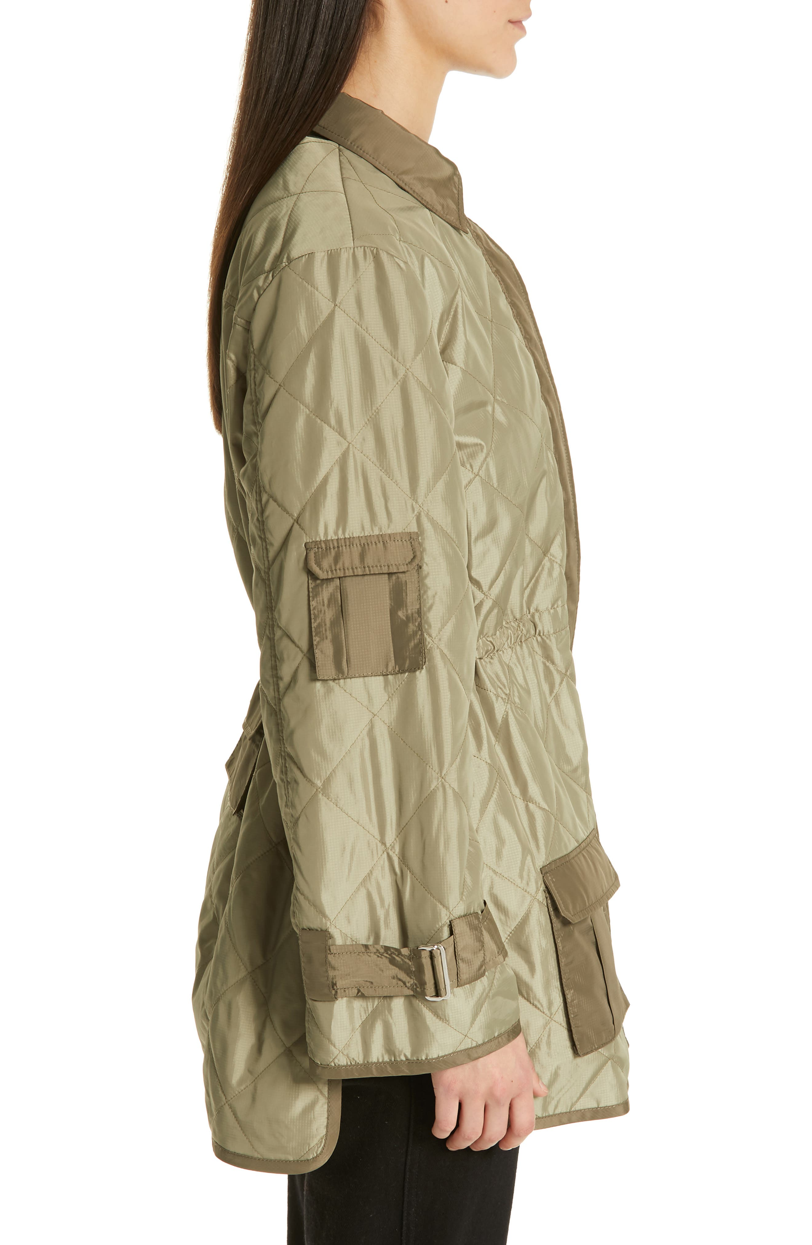 GANNI, Quilted Ripstop Jacket, Alternate thumbnail 3, color, ALOE