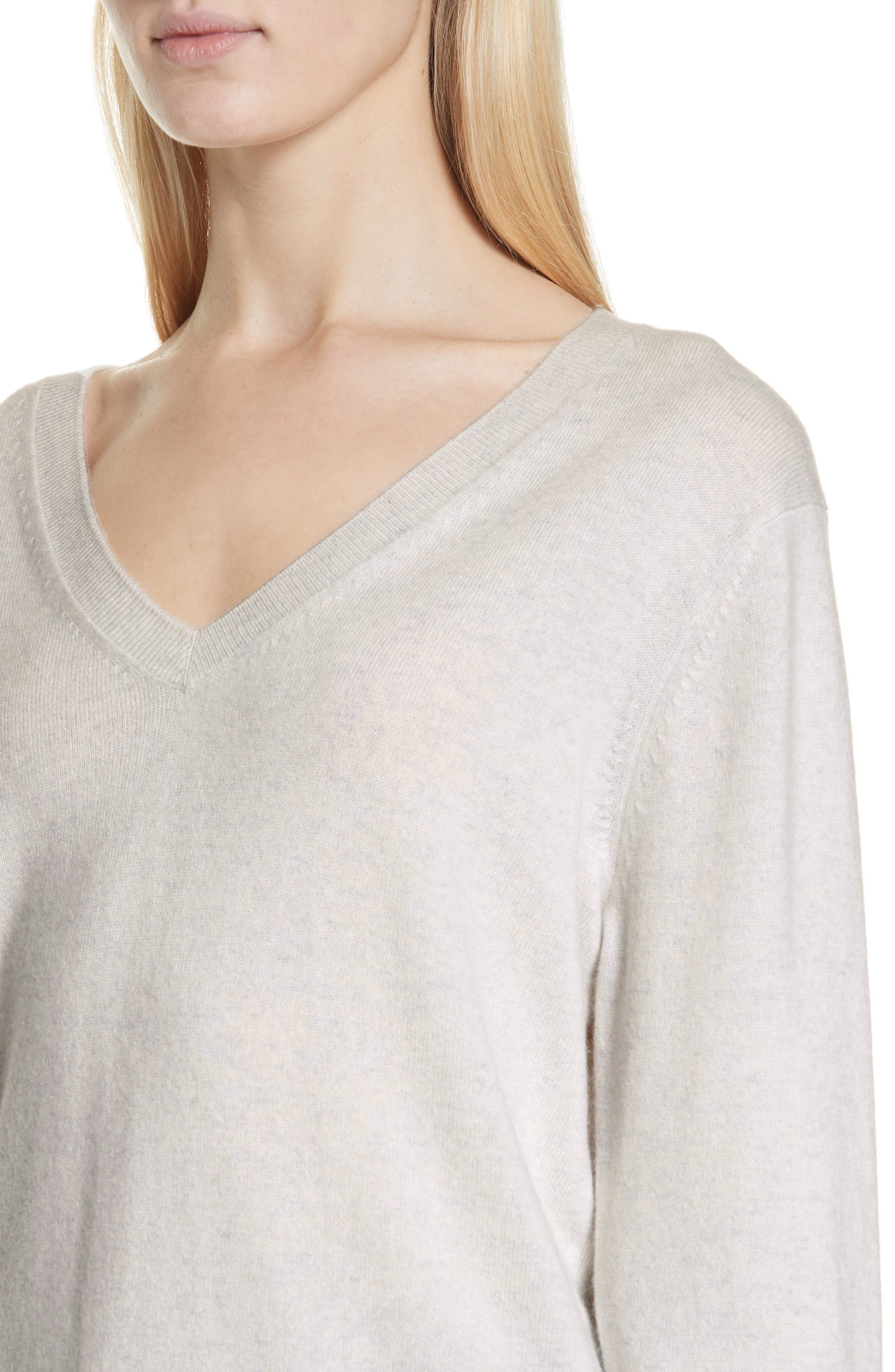VINCE, Weekend V-Neck Cashmere Sweater, Alternate thumbnail 4, color, HEATHER WHITE