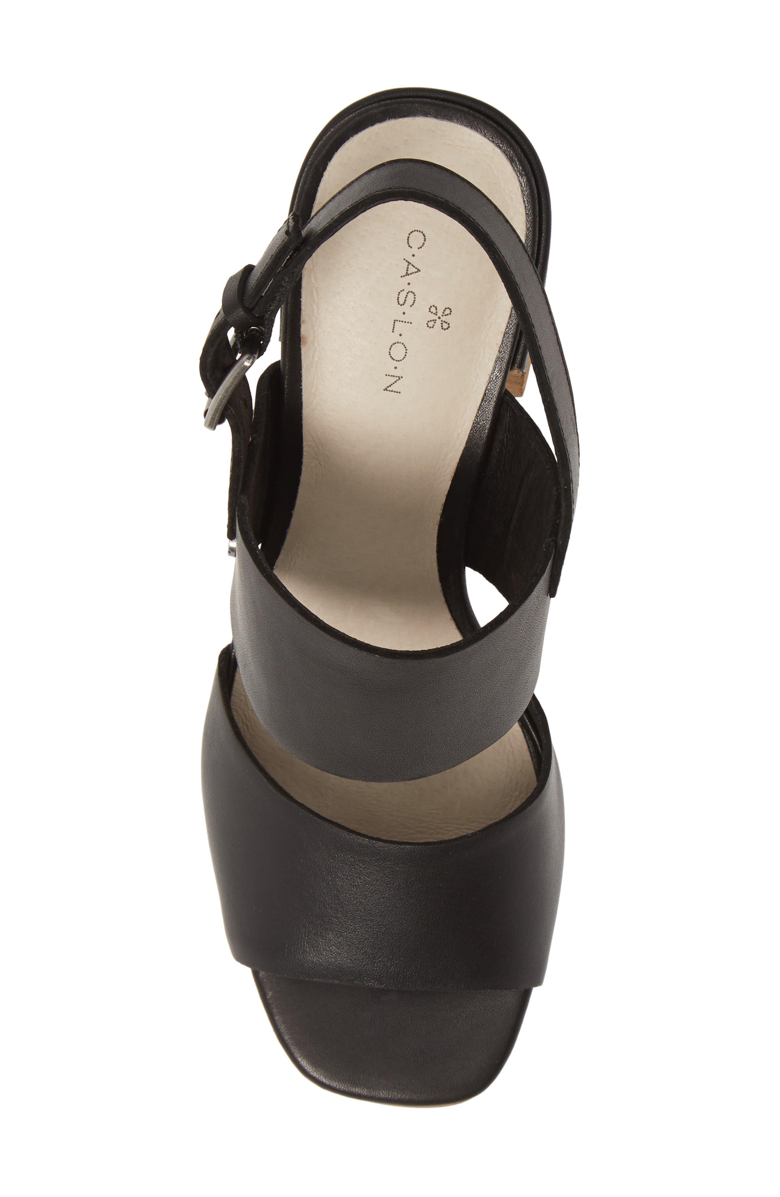 CASLON<SUP>®</SUP>, Caslon Brayden Slingback Sandal, Alternate thumbnail 5, color, BLACK LEATHER