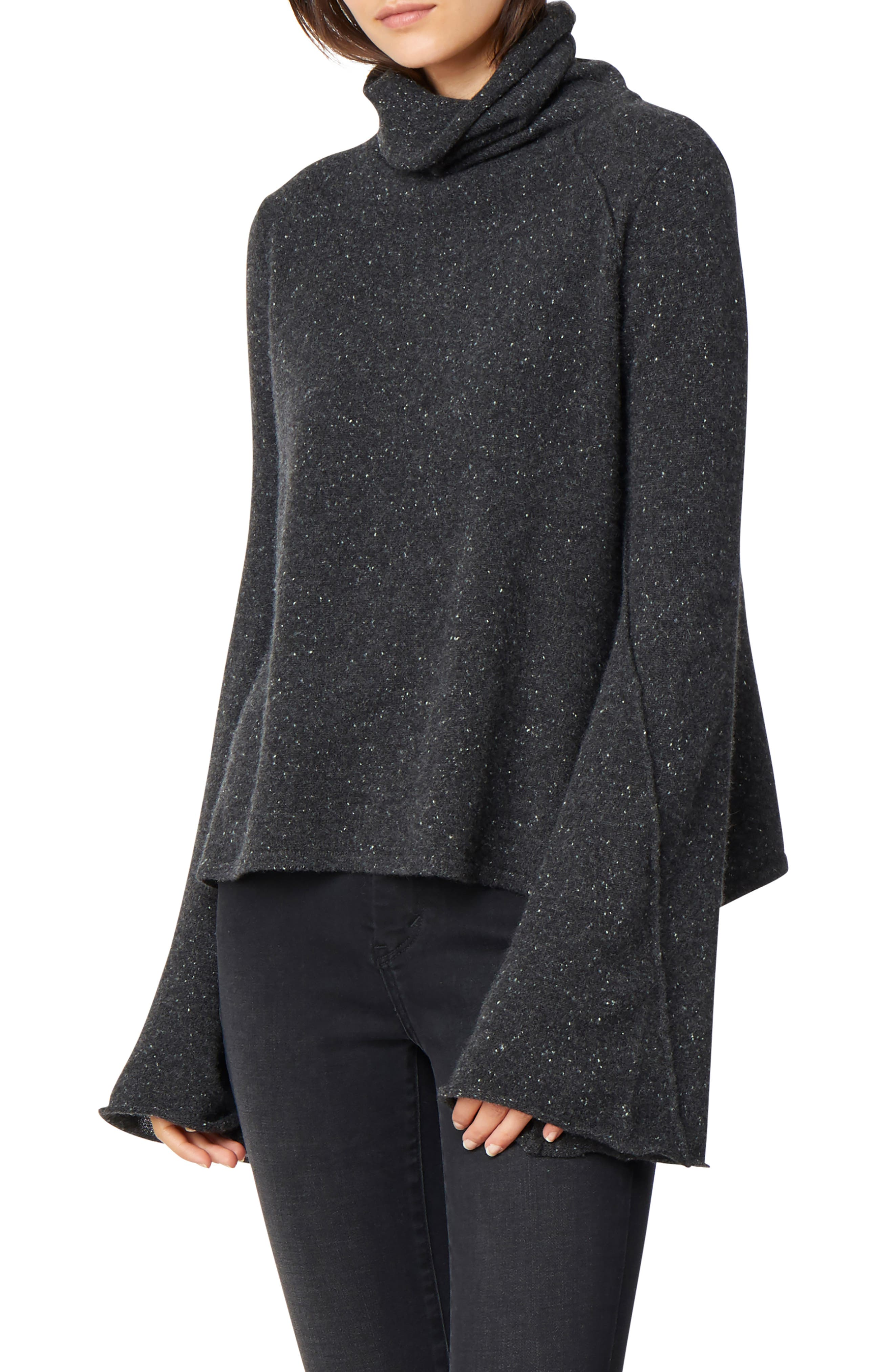 HABITUAL, Adalyn Oversize Bell Sleeve Cashmere Sweater, Main thumbnail 1, color, 001