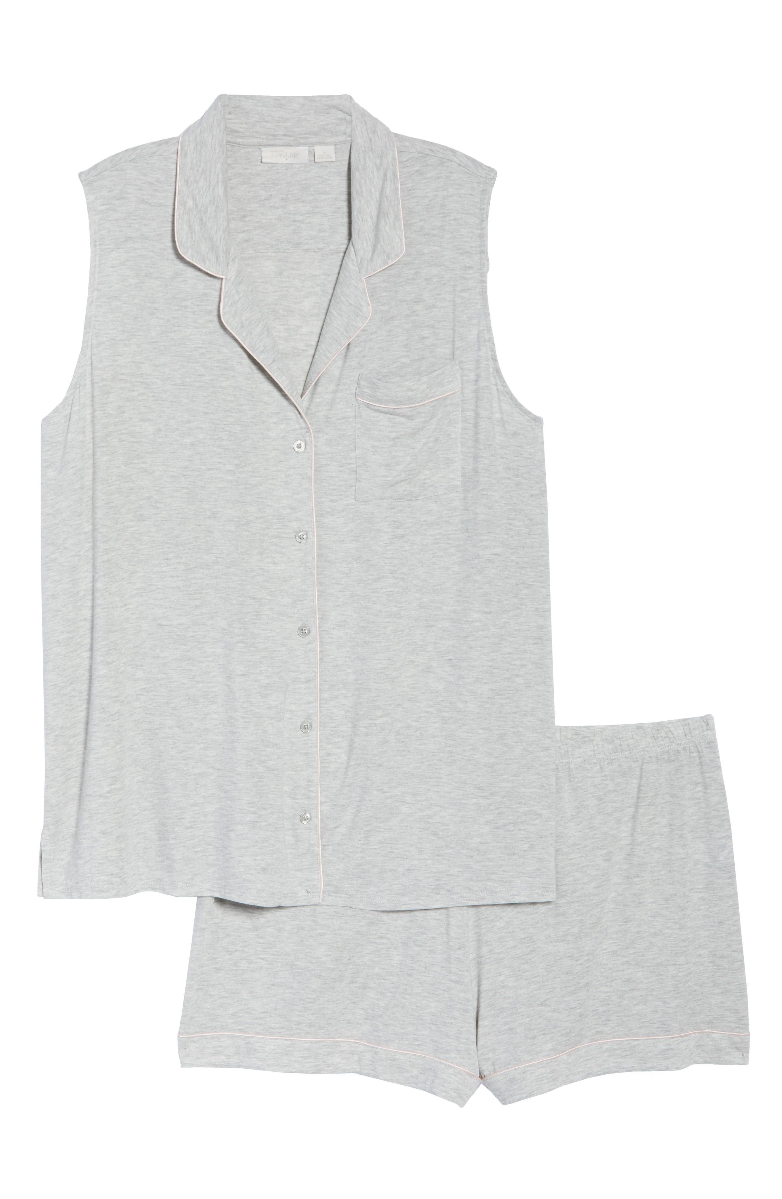 NORDSTROM LINGERIE, Moonlight Short Pajamas, Alternate thumbnail 6, color, GREY PEARL HEATHER