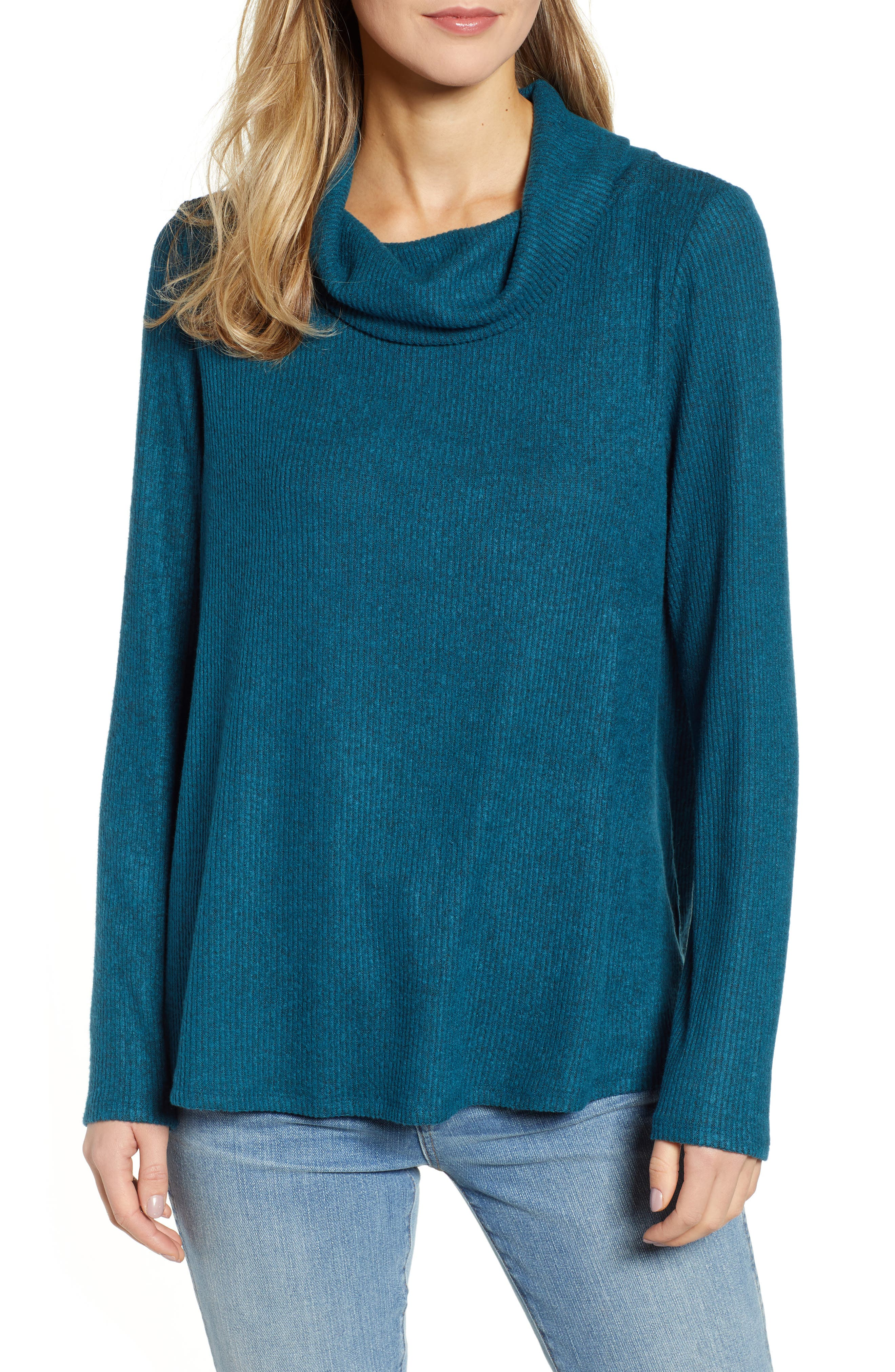 CASLON<SUP>®</SUP>, Off-Duty Cozy Ribbed Tunic, Main thumbnail 1, color, TEAL