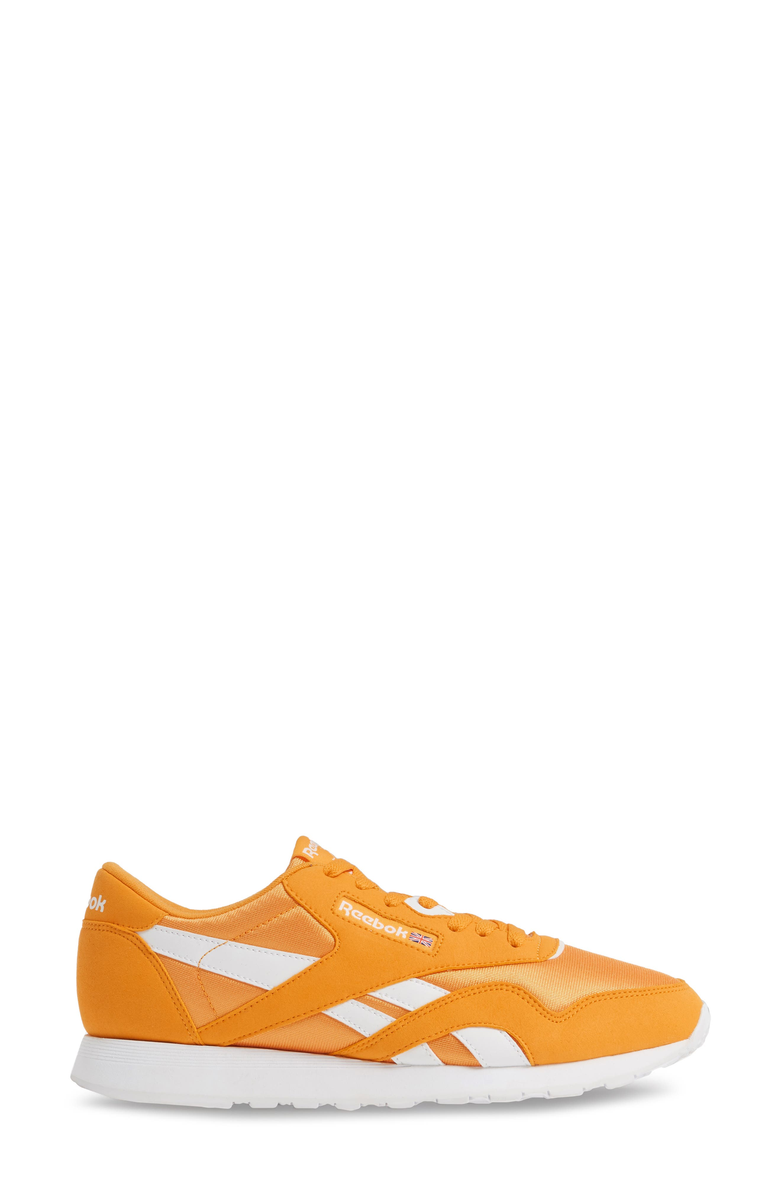 REEBOK, Classic Nylon Sneaker, Alternate thumbnail 3, color, TREK GOLD/ WHITE