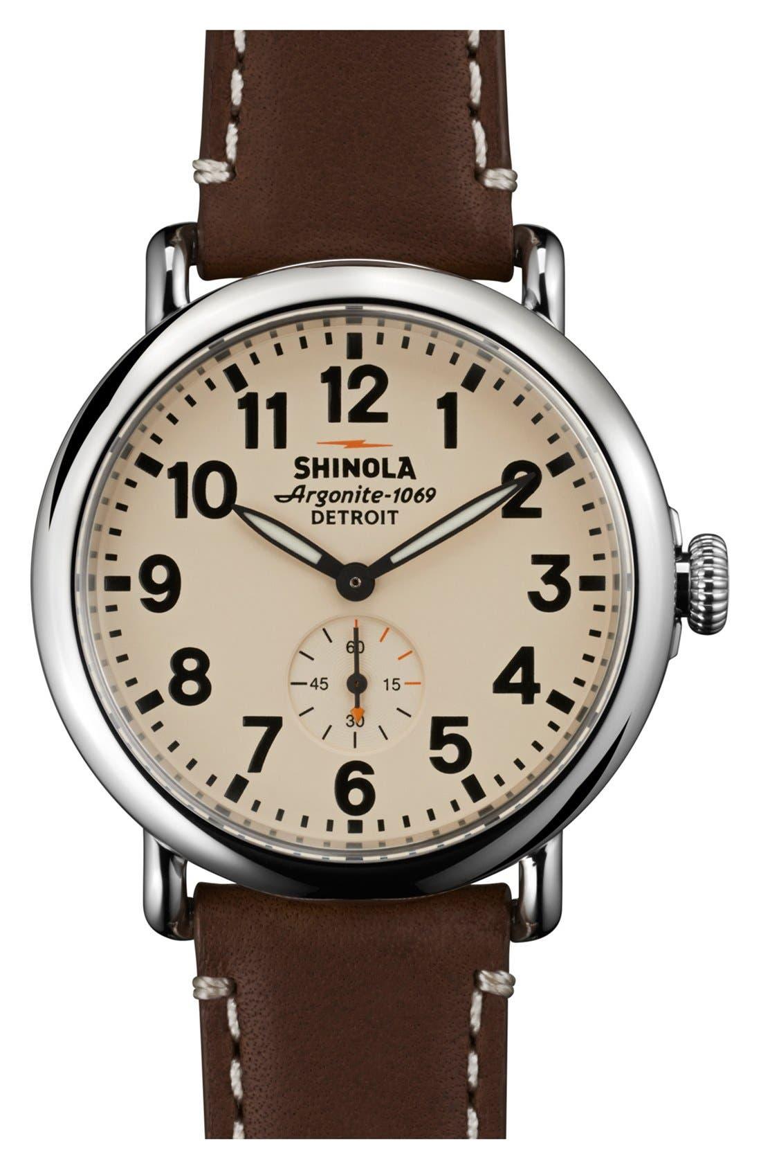 SHINOLA, 'The Runwell' Leather Strap Watch, 41mm, Main thumbnail 1, color, DARK COFFEE/ CREAM