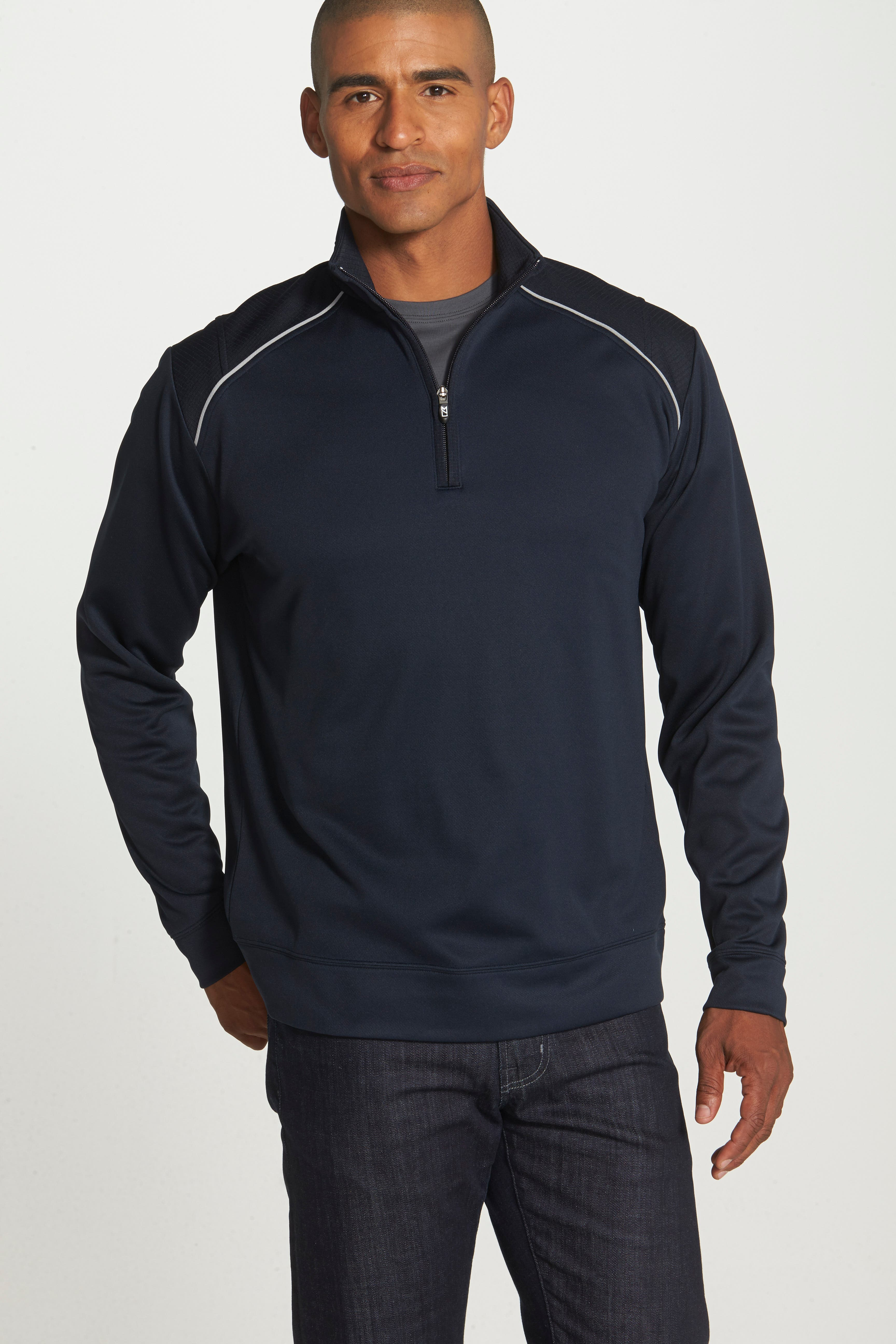 CUTTER & BUCK, Ridge WeatherTec Wind & Water Resistant Pullover, Alternate thumbnail 4, color, NAVY BLUE