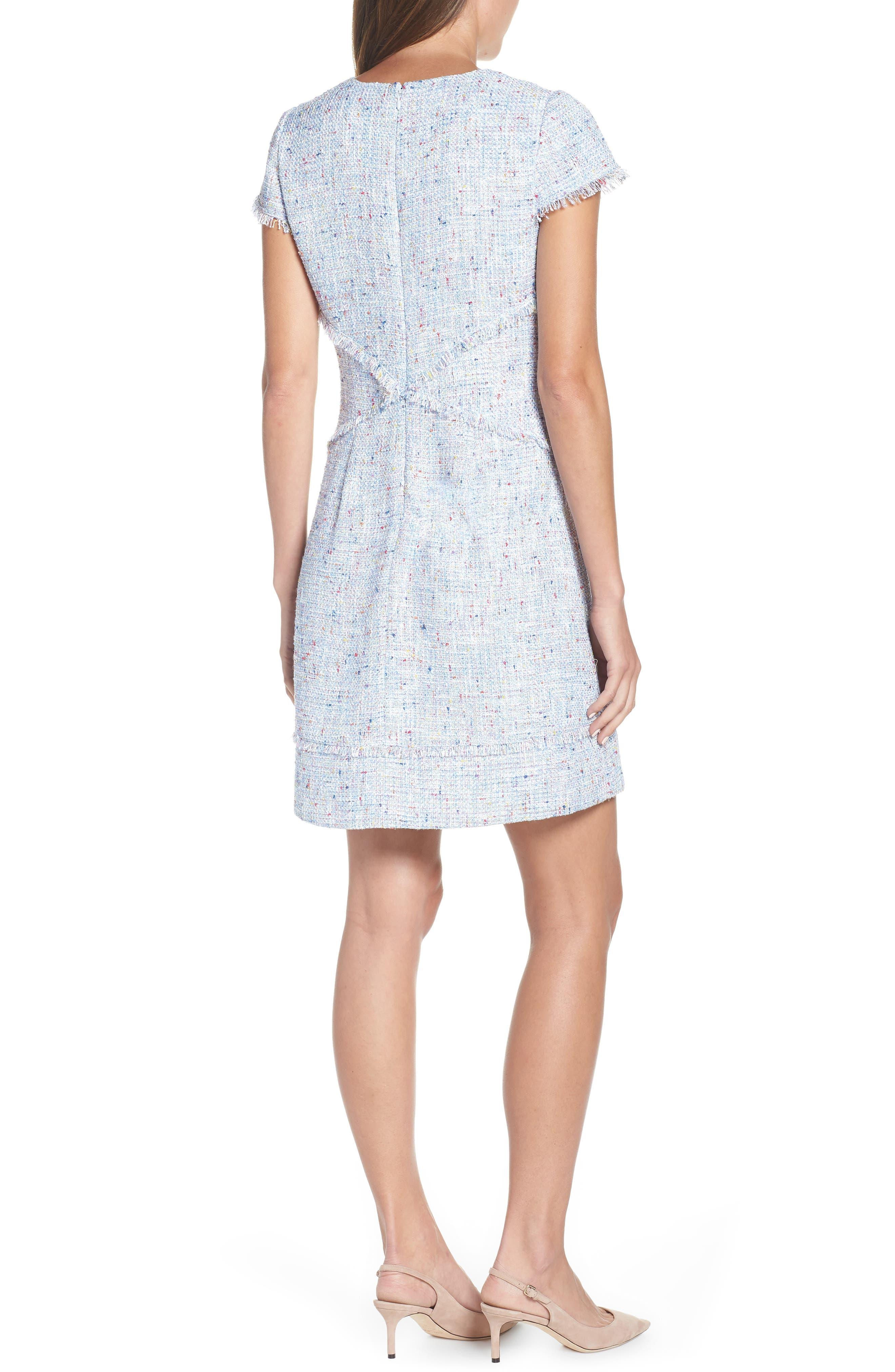 ELIZA J, Sheath Tweed Sheath Dress, Alternate thumbnail 2, color, BLUE
