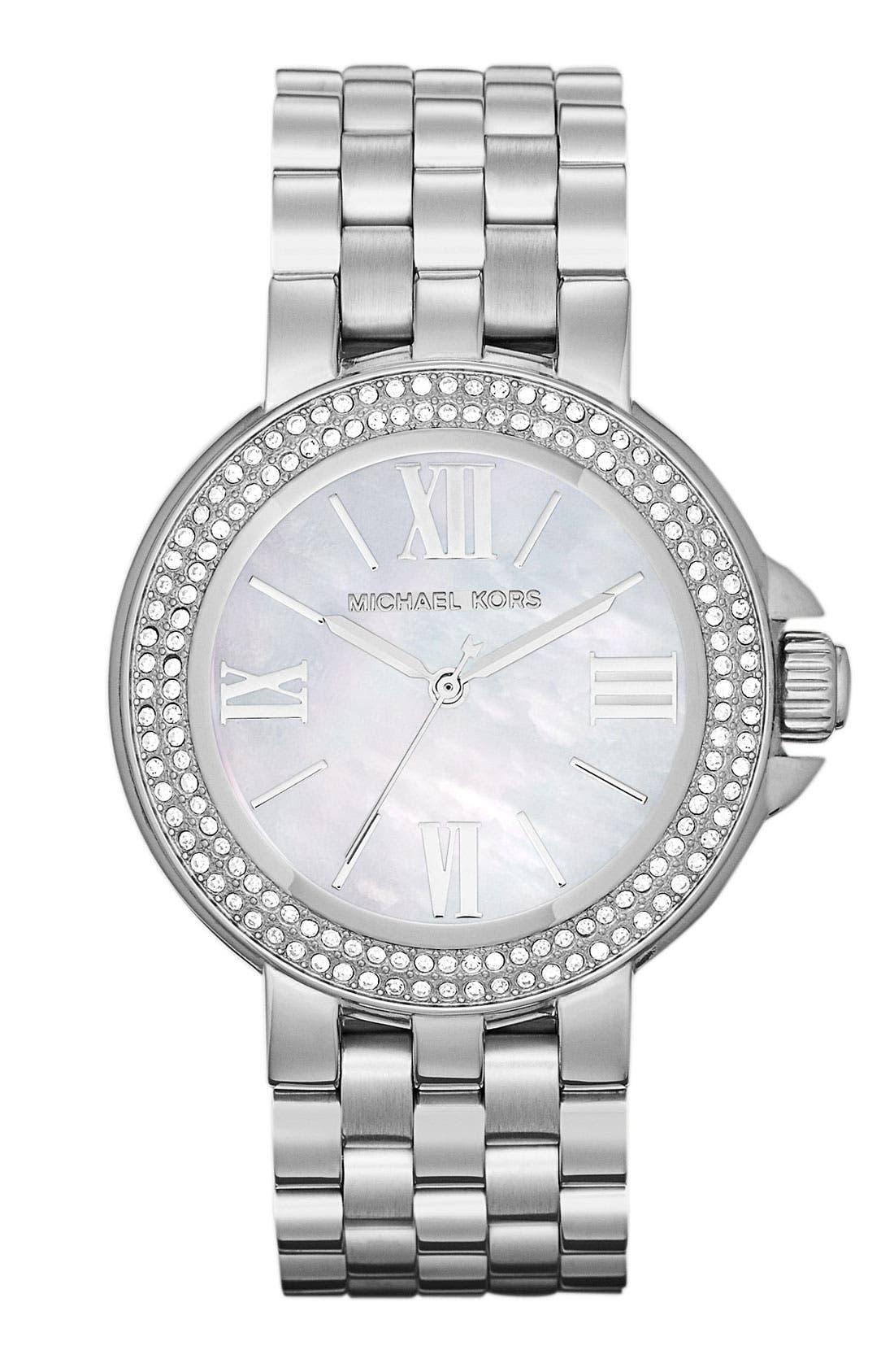 MICHAEL MICHAEL KORS, Michael Kors 'Lucy' Crystal Bezel Bracelet Watch, Main thumbnail 1, color, 040