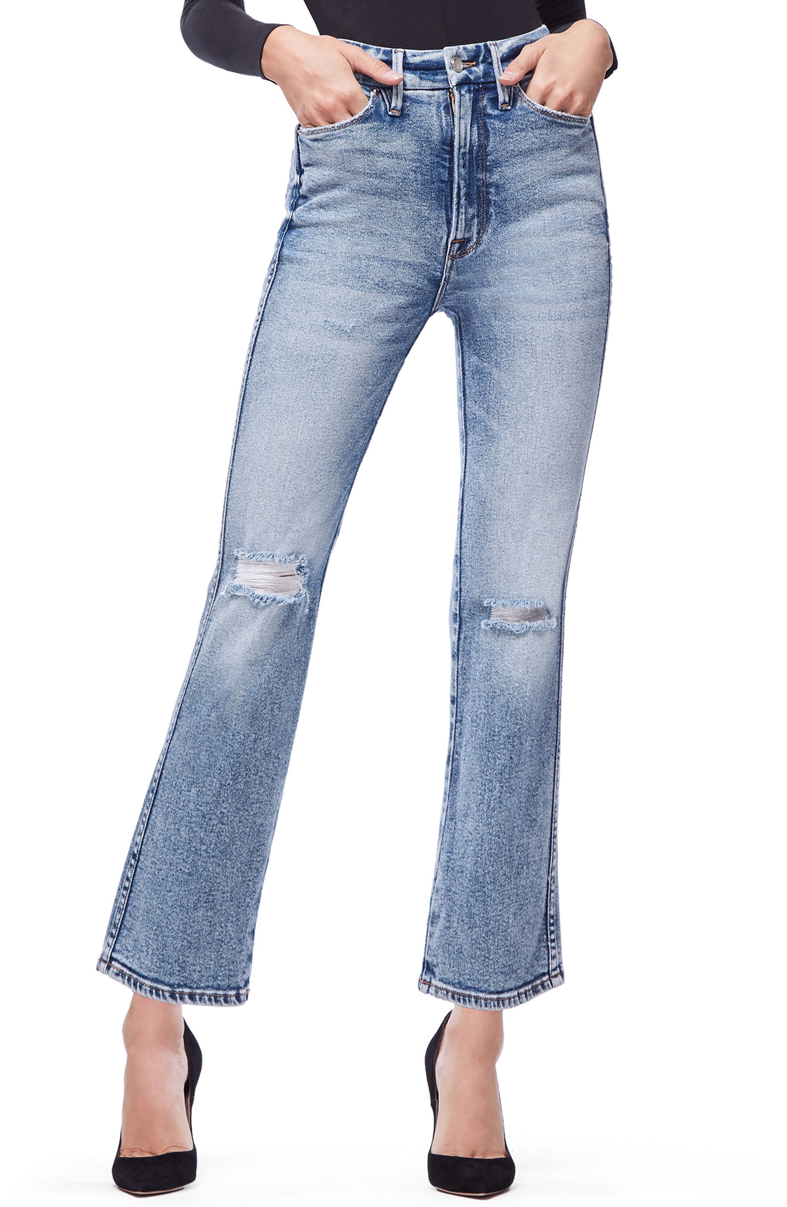 GOOD AMERICAN, Good Curve High Waist Ankle Straight Leg Jeans, Main thumbnail 1, color, 401