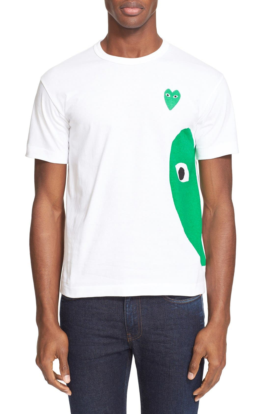 COMME DES GARÇONS PLAY, Graphic T-Shirt with Heart Appliqué, Main thumbnail 1, color, WHITE