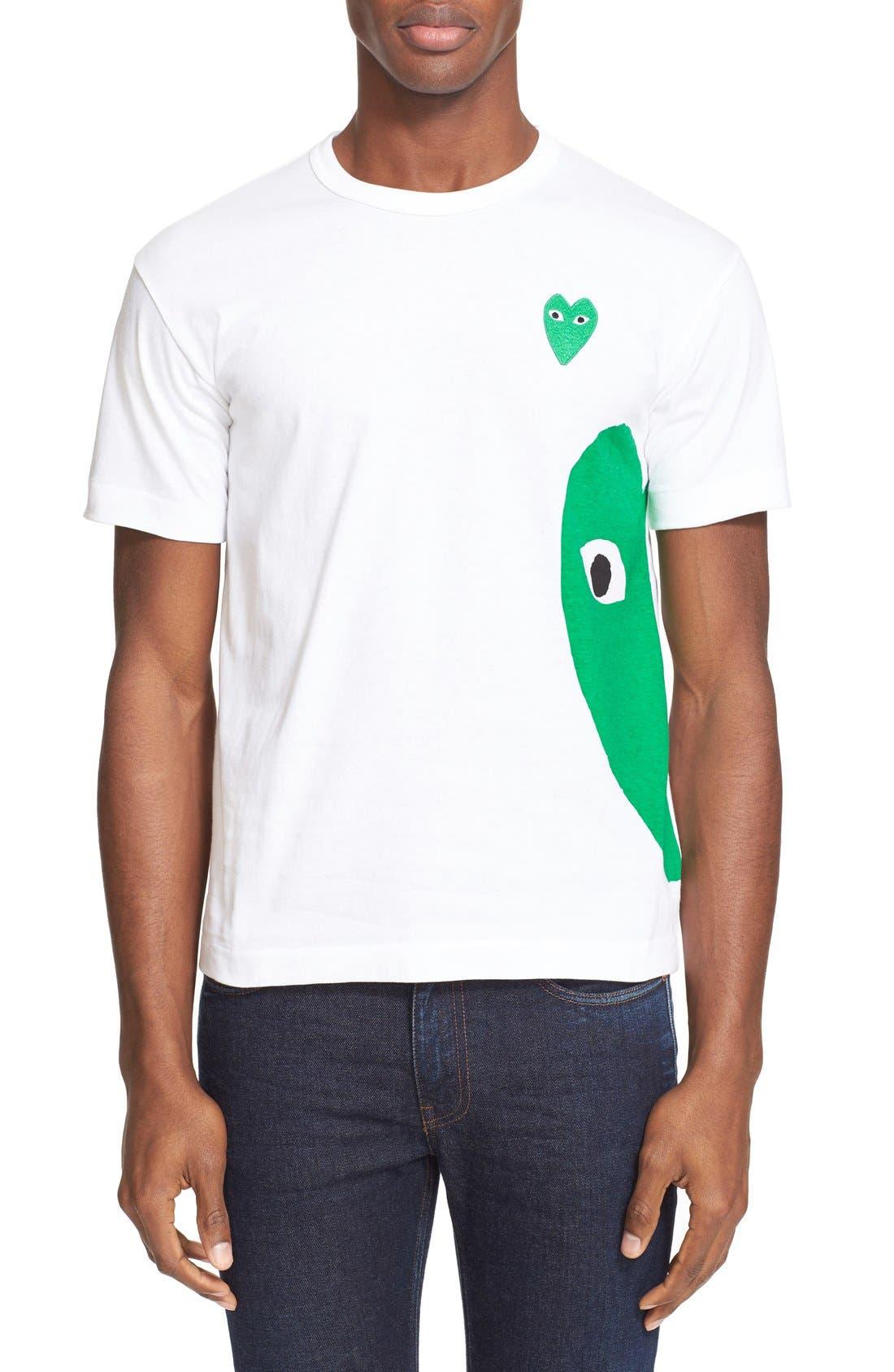 COMME DES GARÇONS PLAY Graphic T-Shirt with Heart Appliqué, Main, color, WHITE