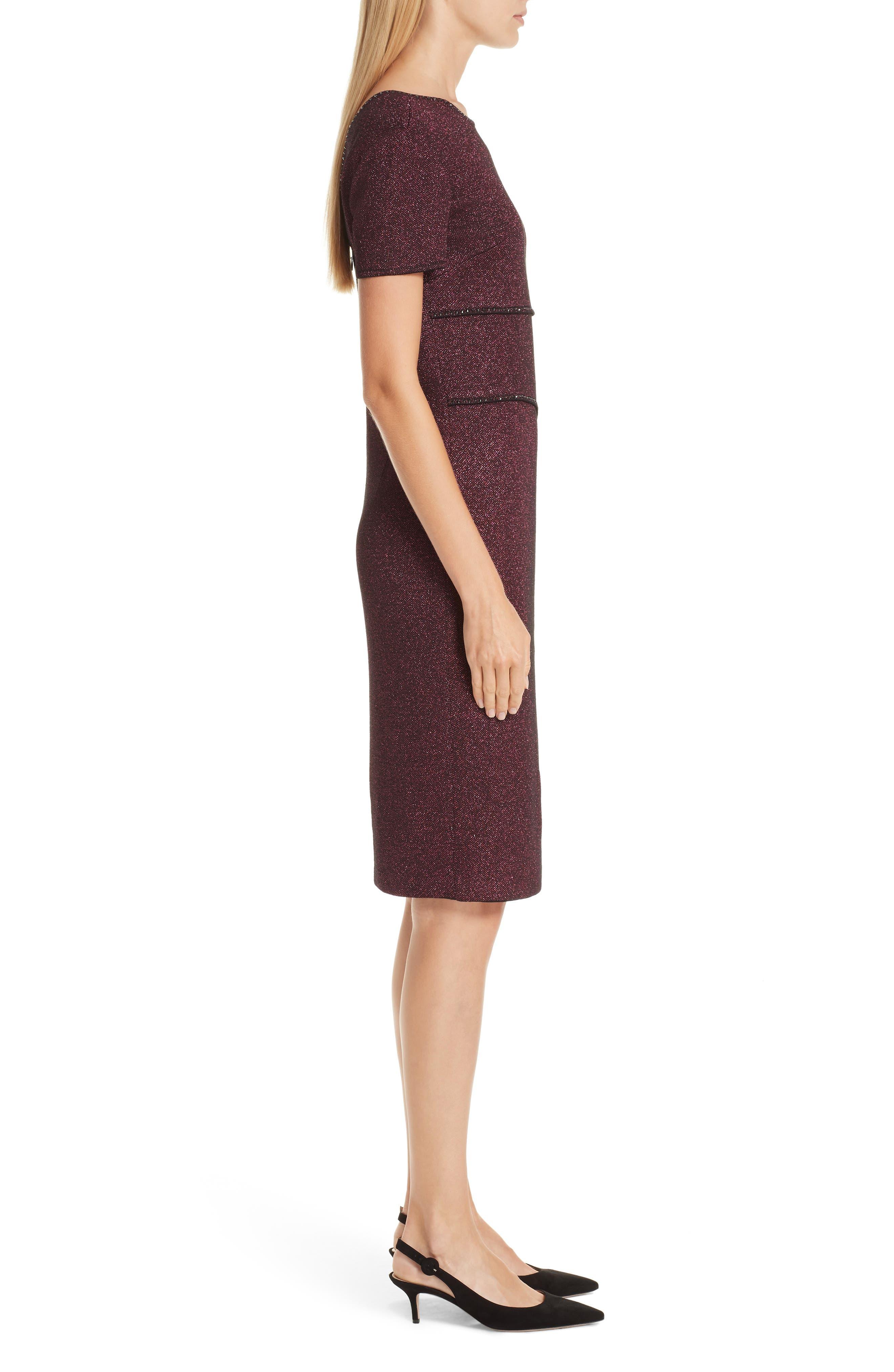 ST. JOHN COLLECTION, Mod Metallic Knit Sheath Dress, Alternate thumbnail 4, color, DARK PINK MULTI