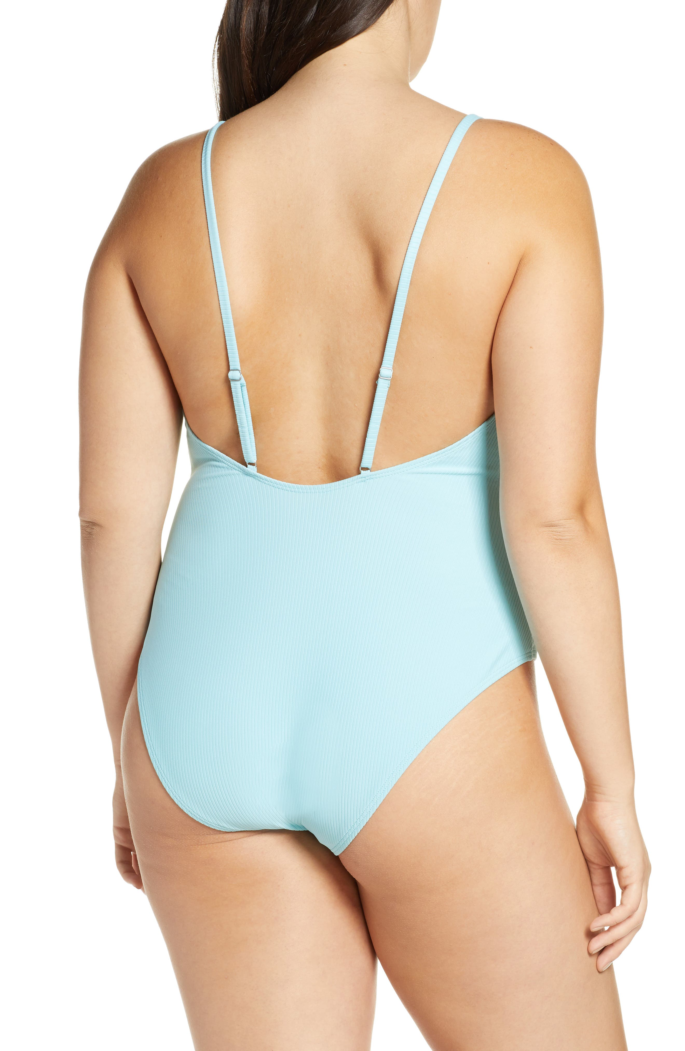 SOMETHING NAVY, Core Ribbed One-Piece Swimsuit, Alternate thumbnail 9, color, BLUE GULF