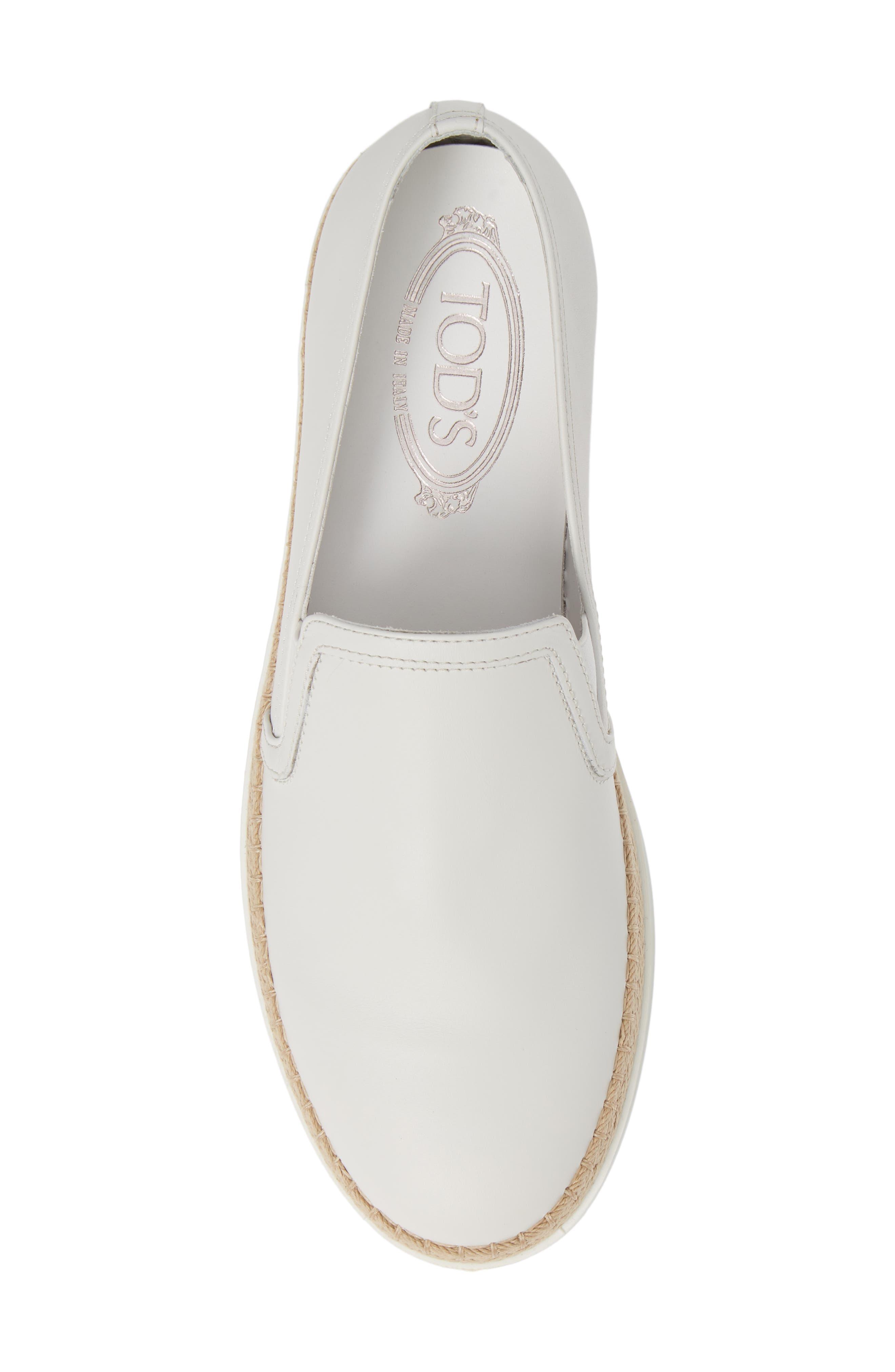 TOD'S, Espadrille Slip-On Sneaker, Alternate thumbnail 5, color, WHITE LEATHER