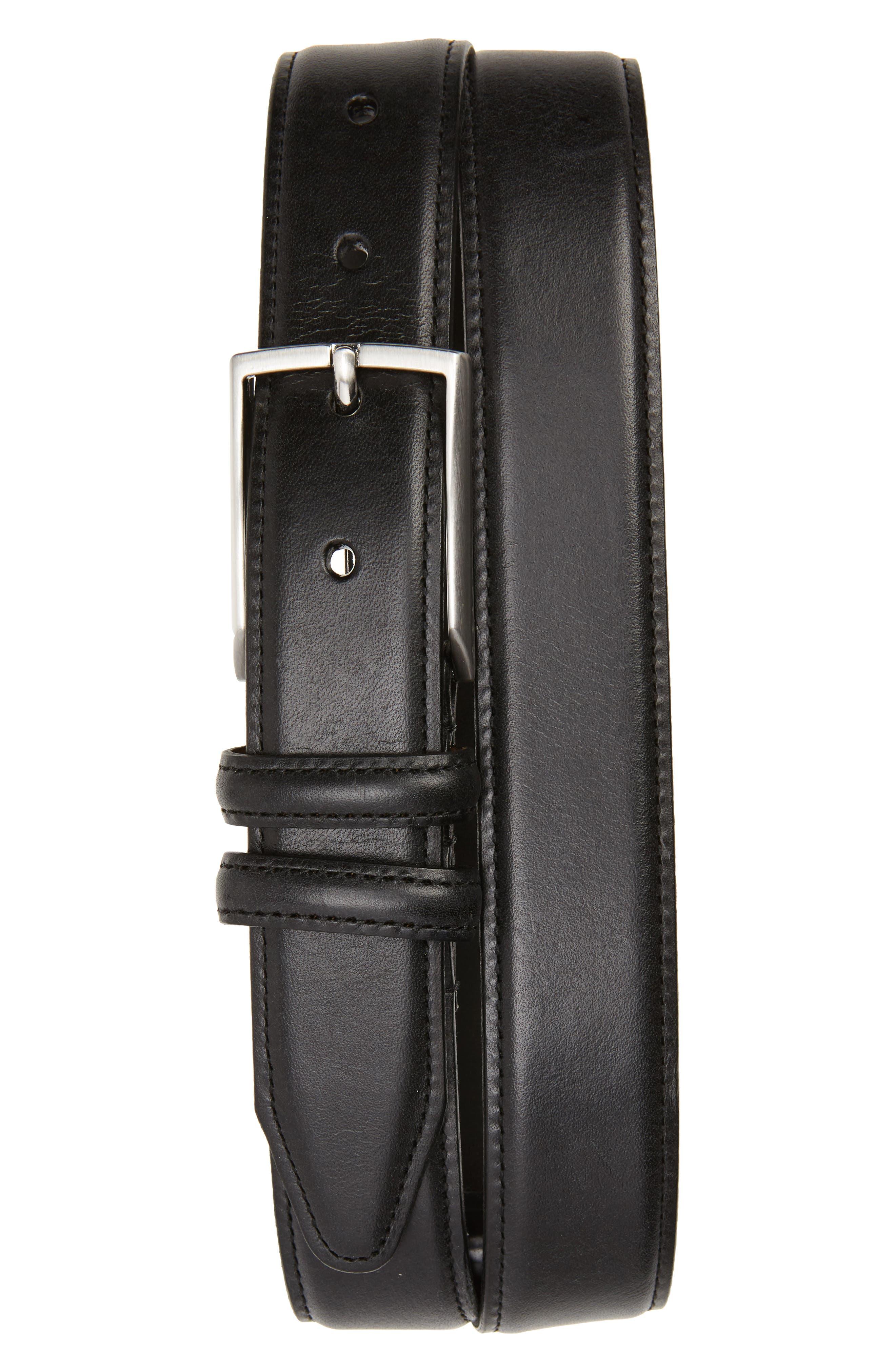 NORDSTROM MEN'S SHOP, Carter Leather Dress Belt, Main thumbnail 1, color, BLACK