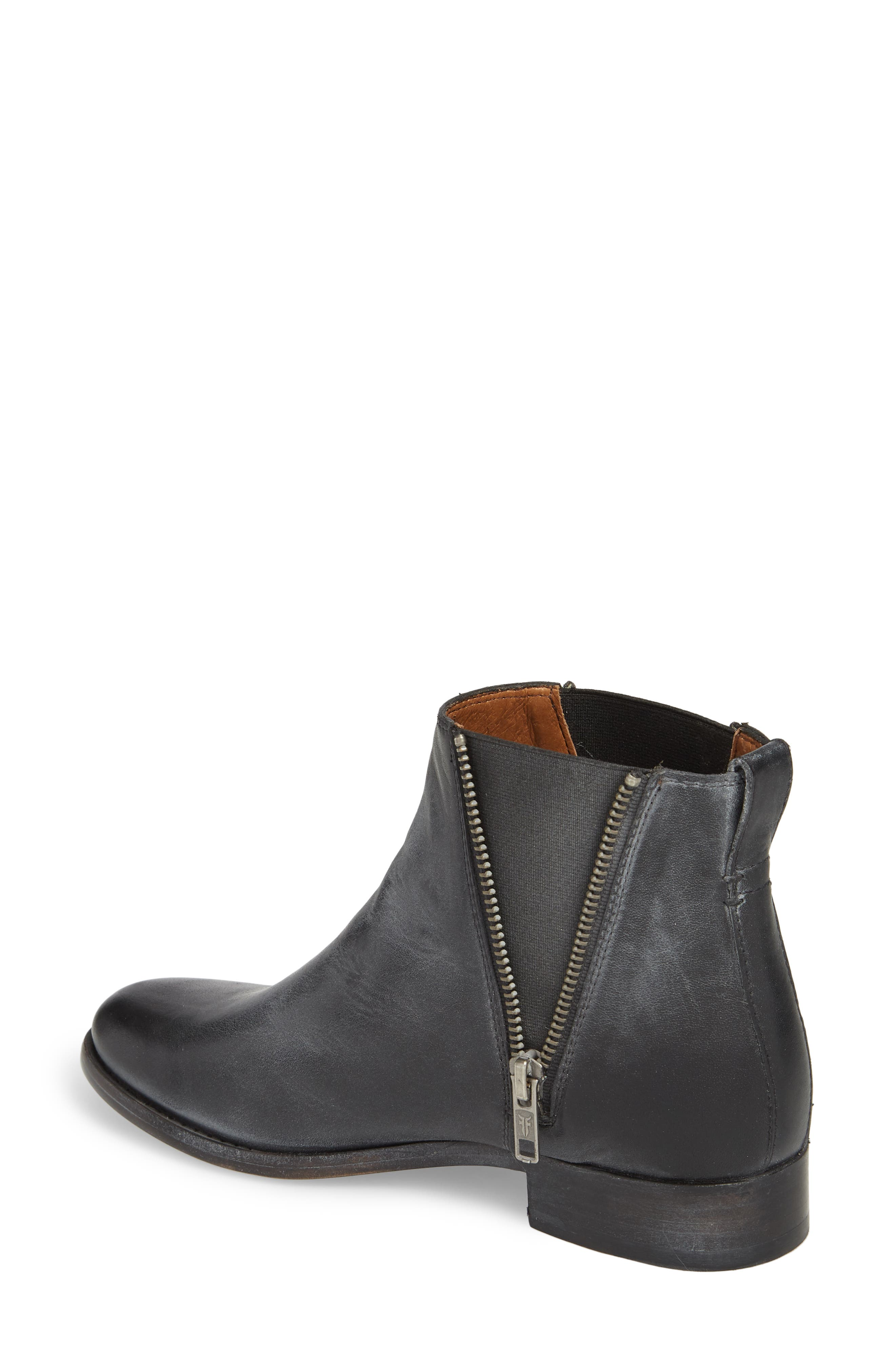 FRYE, Carly Chelsea Boot, Alternate thumbnail 2, color, BLACK ANTIQUED LEATHER