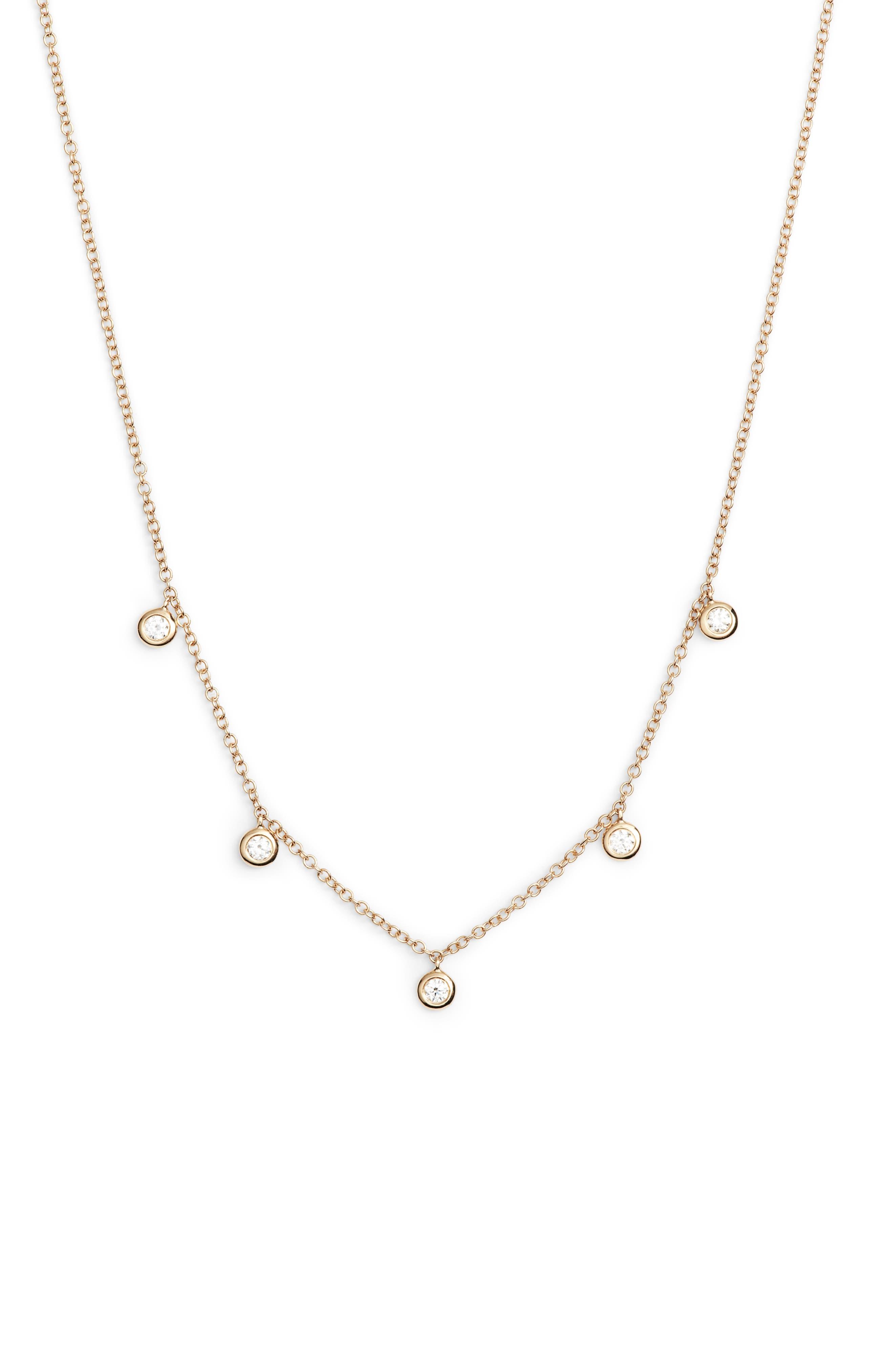 EF COLLECTION Diamond Bezel Choker, Main, color, YELLOW GOLD