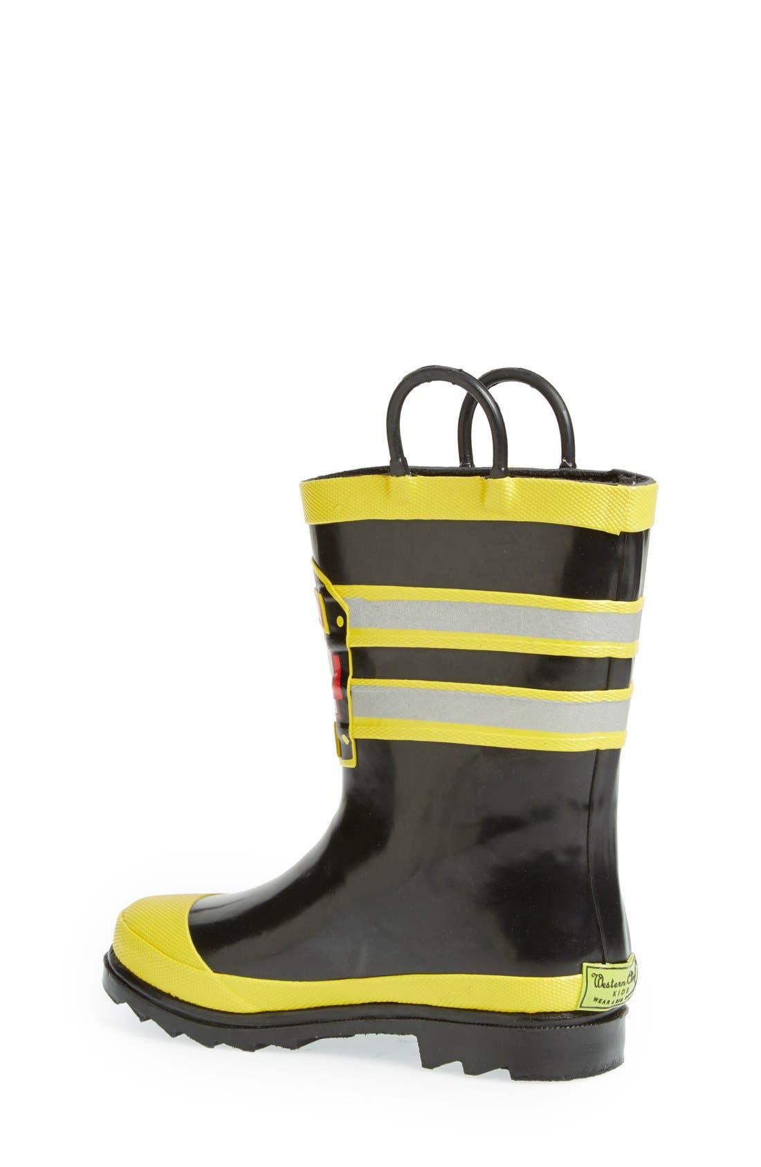 WESTERN CHIEF, F.D.U.S.A. Waterproof Rain Boot, Alternate thumbnail 2, color, BLACK