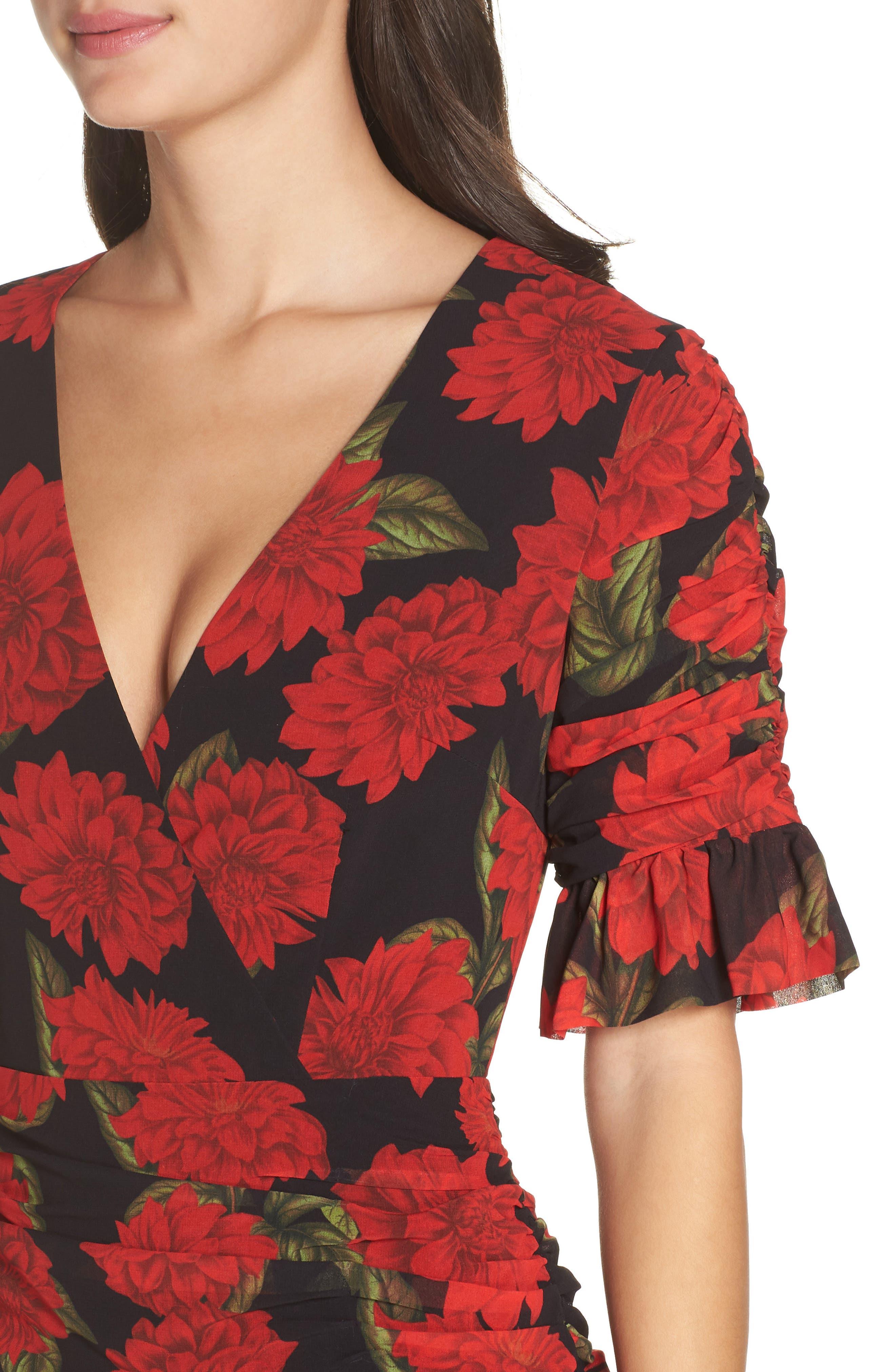 KEEPSAKE THE LABEL, Find You Floral Dress, Alternate thumbnail 5, color, 001