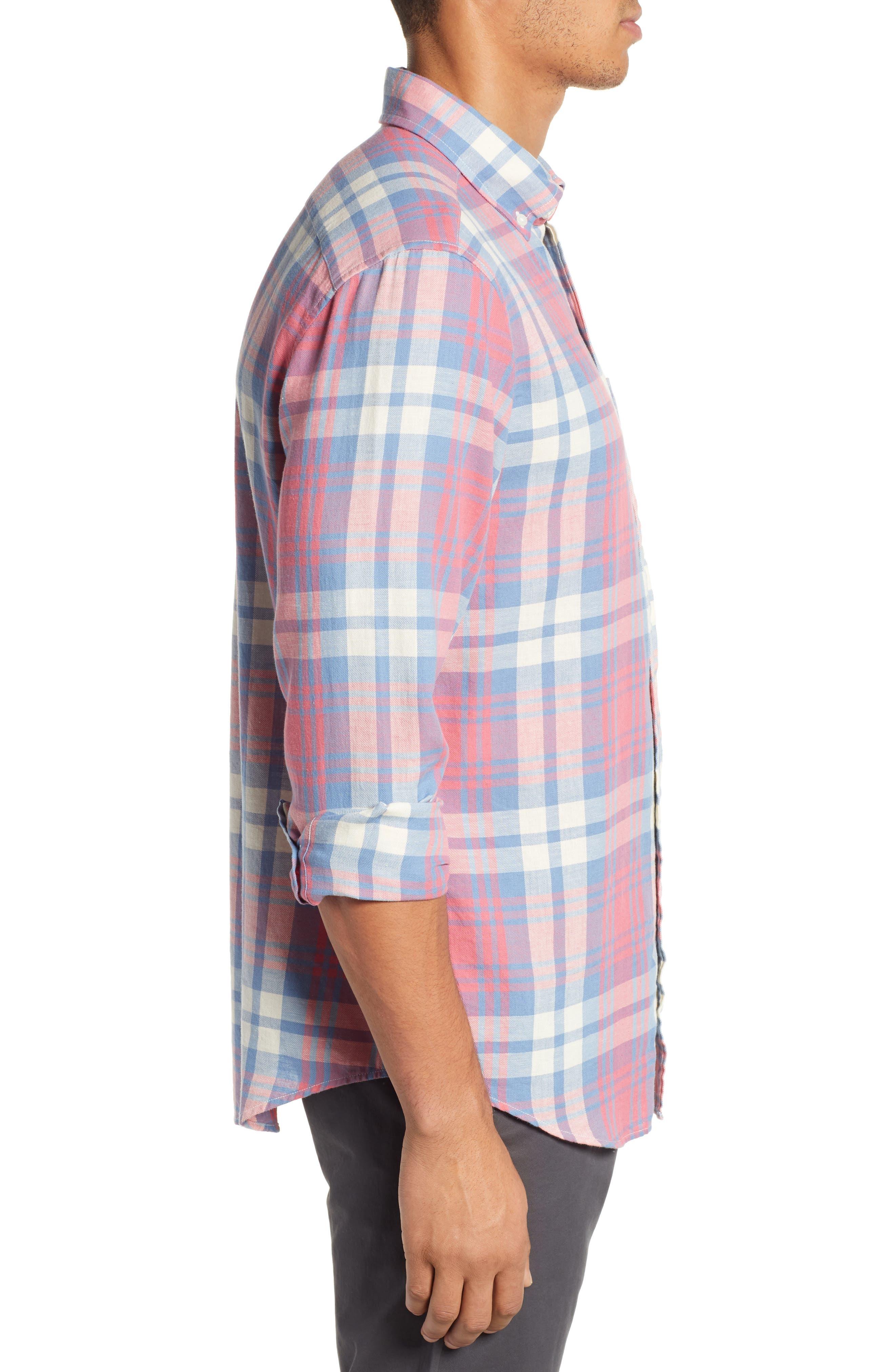 VINEYARD VINES, Kings Point Slim Fit Tucker Sport Shirt, Alternate thumbnail 4, color, LOBSTER REEF