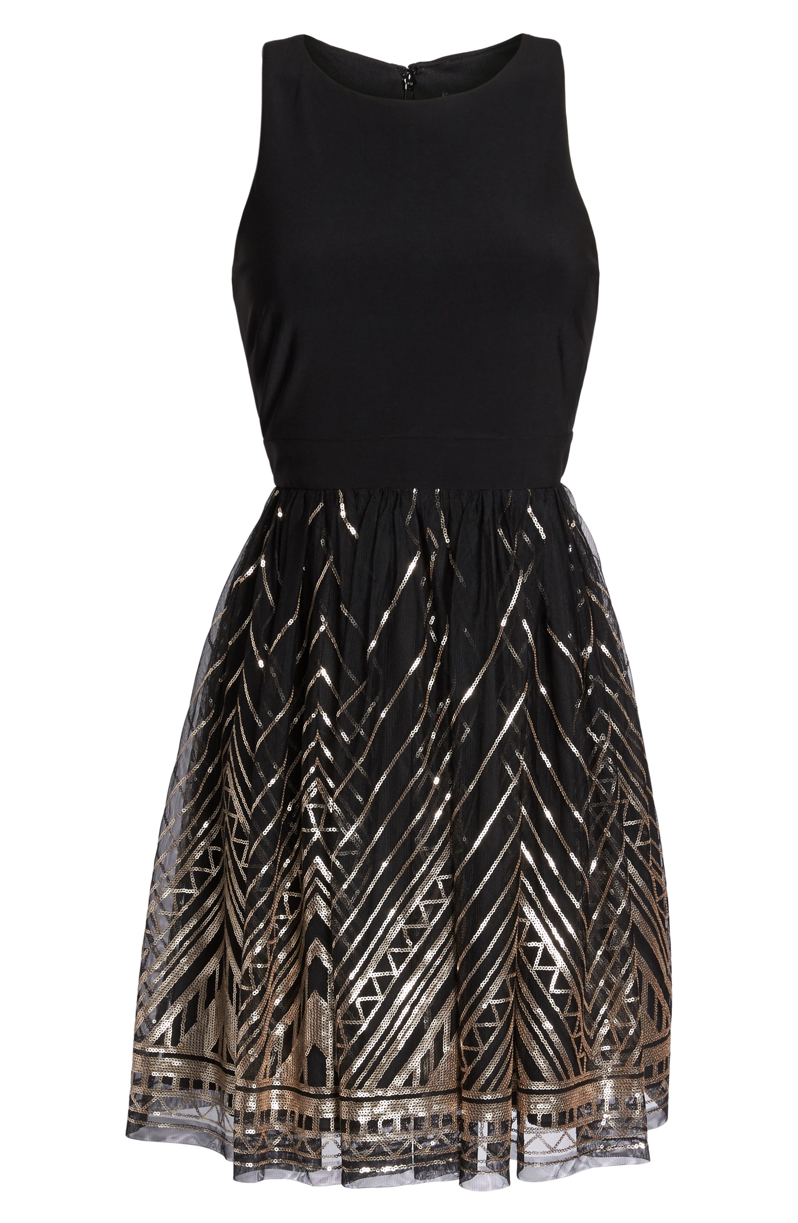 VINCE CAMUTO, Sequin Fit & Flare Cocktail Dress, Alternate thumbnail 7, color, BLACK/ GOLD