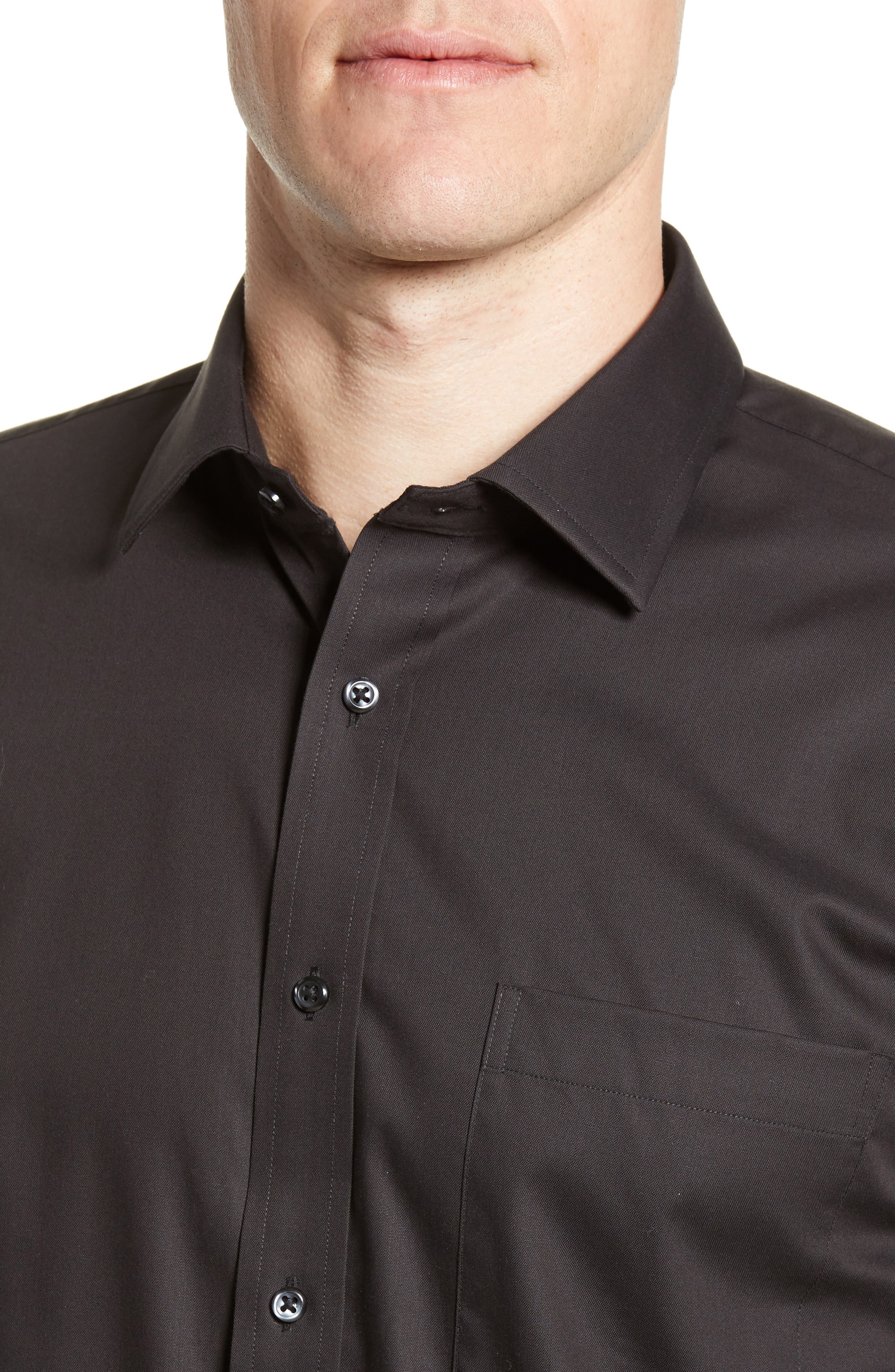 NORDSTROM MEN'S SHOP, Trim Fit Non-Iron Dress Shirt, Alternate thumbnail 2, color, BLACK
