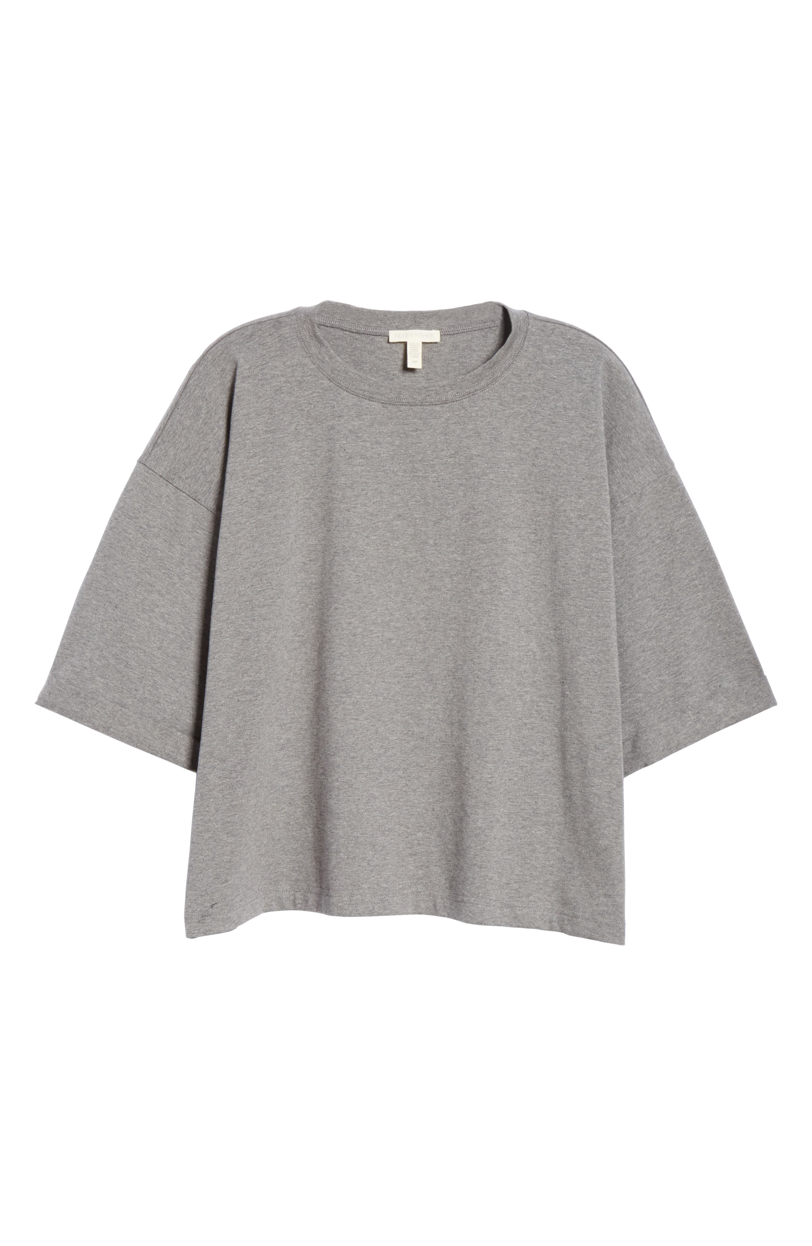 EILEEN FISHER, Stretch Organic Cotton Top, Alternate thumbnail 6, color, MOON