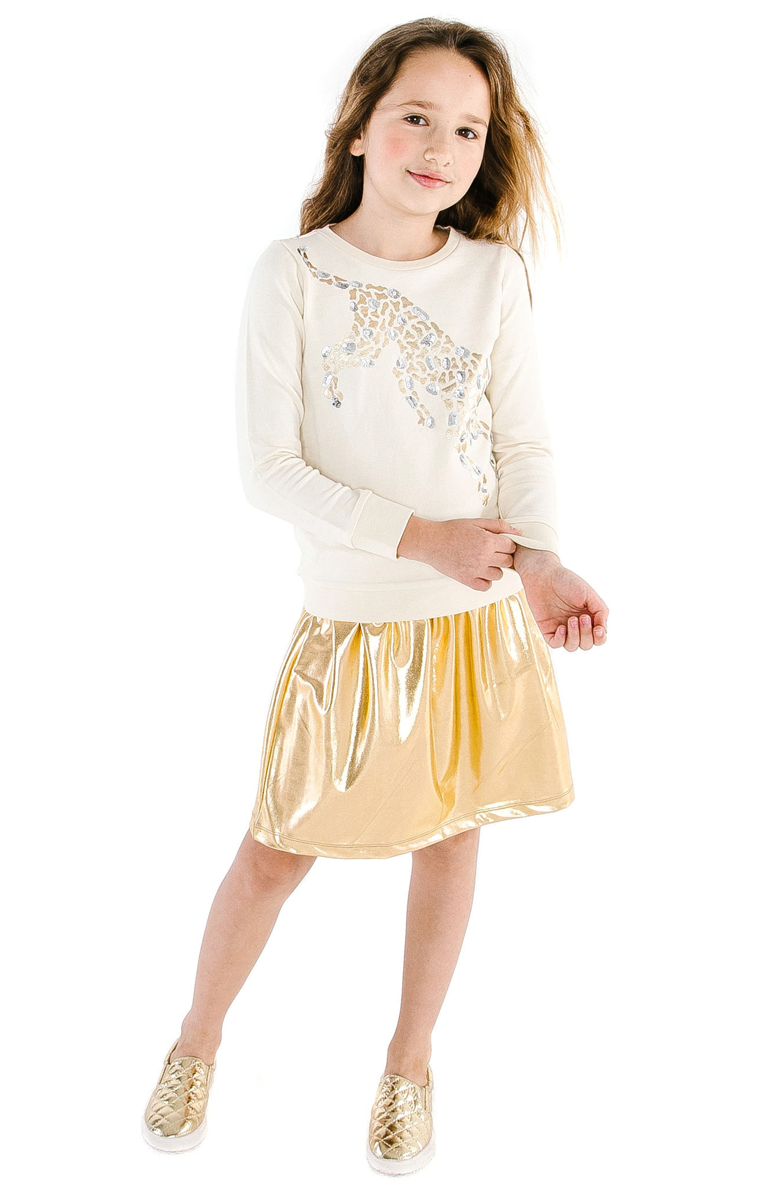 MASALA BABY, Gold Metallic Skirt, Alternate thumbnail 2, color, GOLD