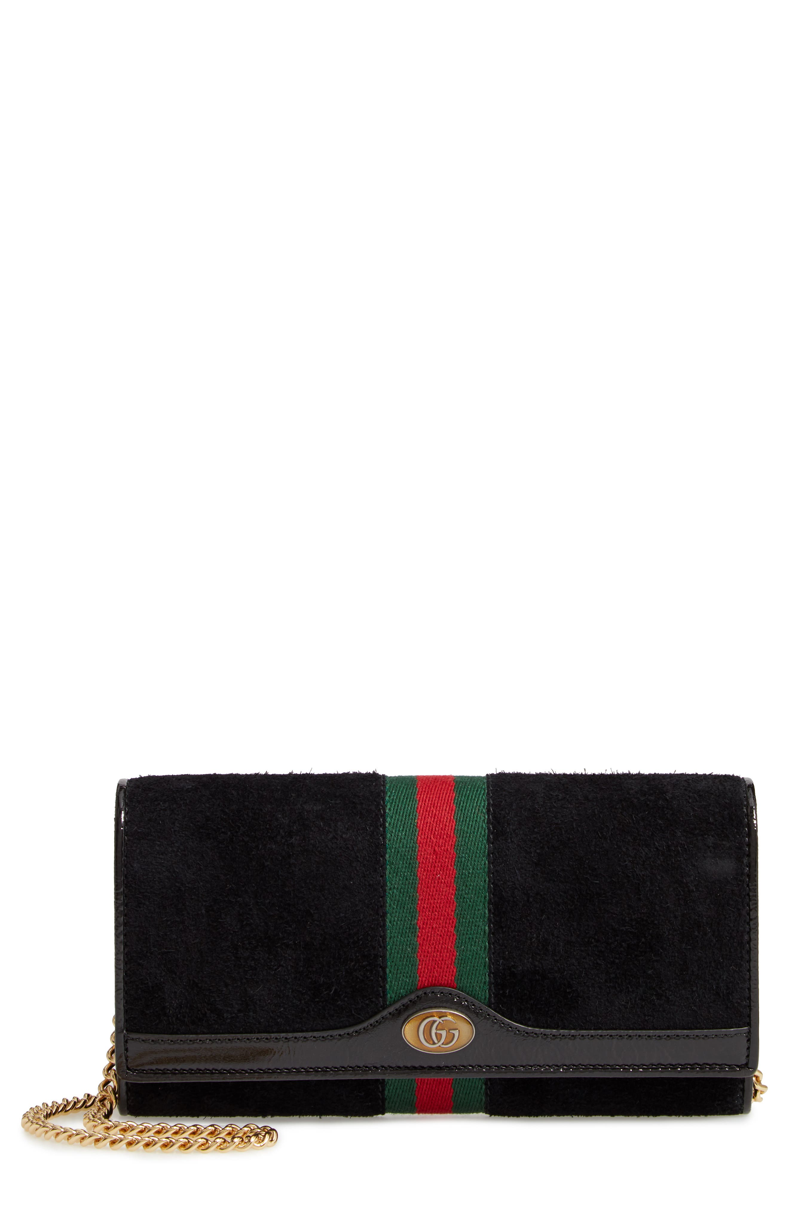 GUCCI Ophidia Suede Continental Wallet, Main, color, NERO/ VERT/ RED