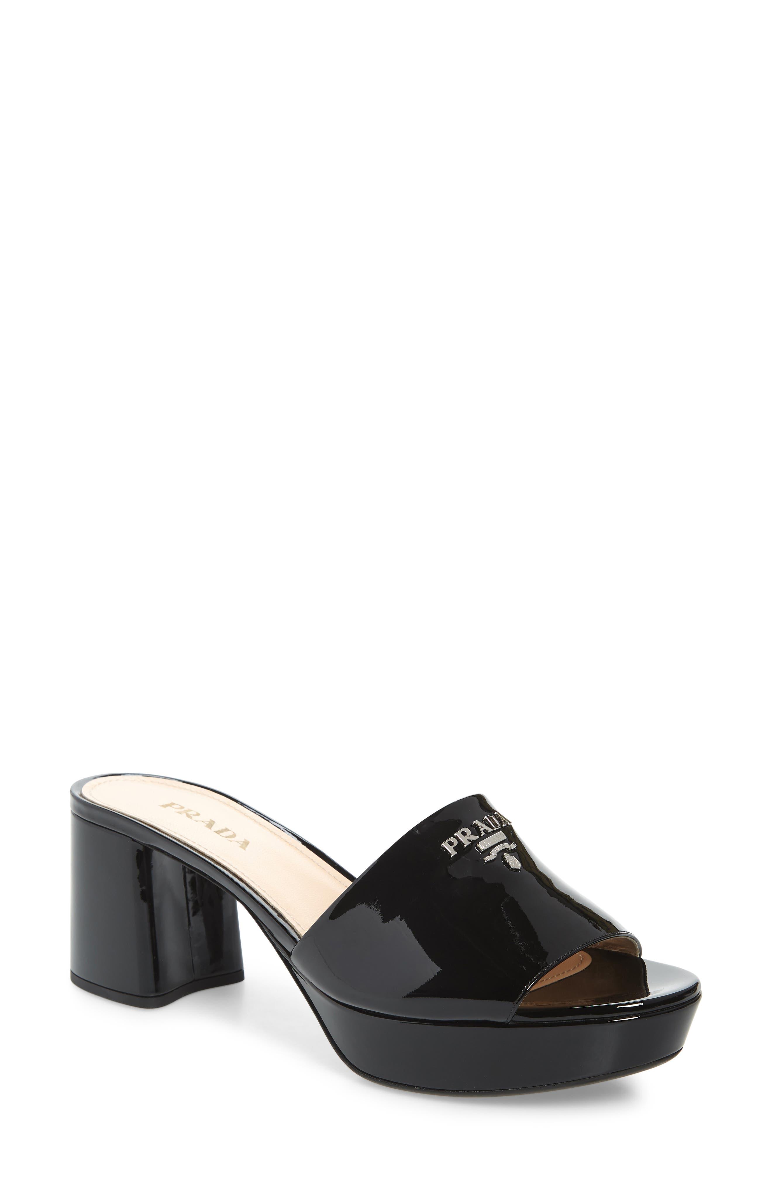 PRADA Platform Slide Sandal, Main, color, BLACK PATENT