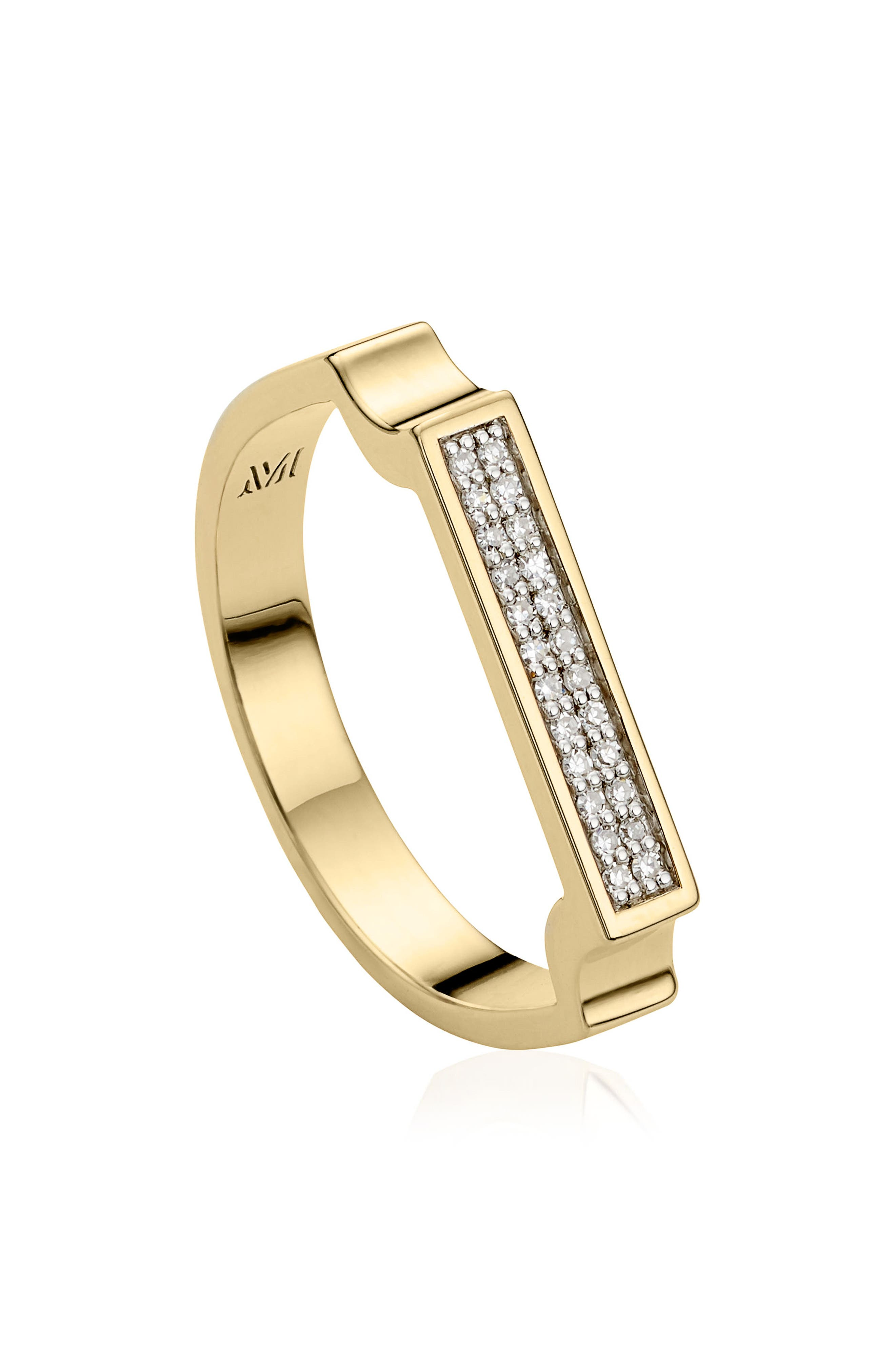 MONICA VINADER, Diamond Signature Ring, Alternate thumbnail 3, color, YELLOW GOLD