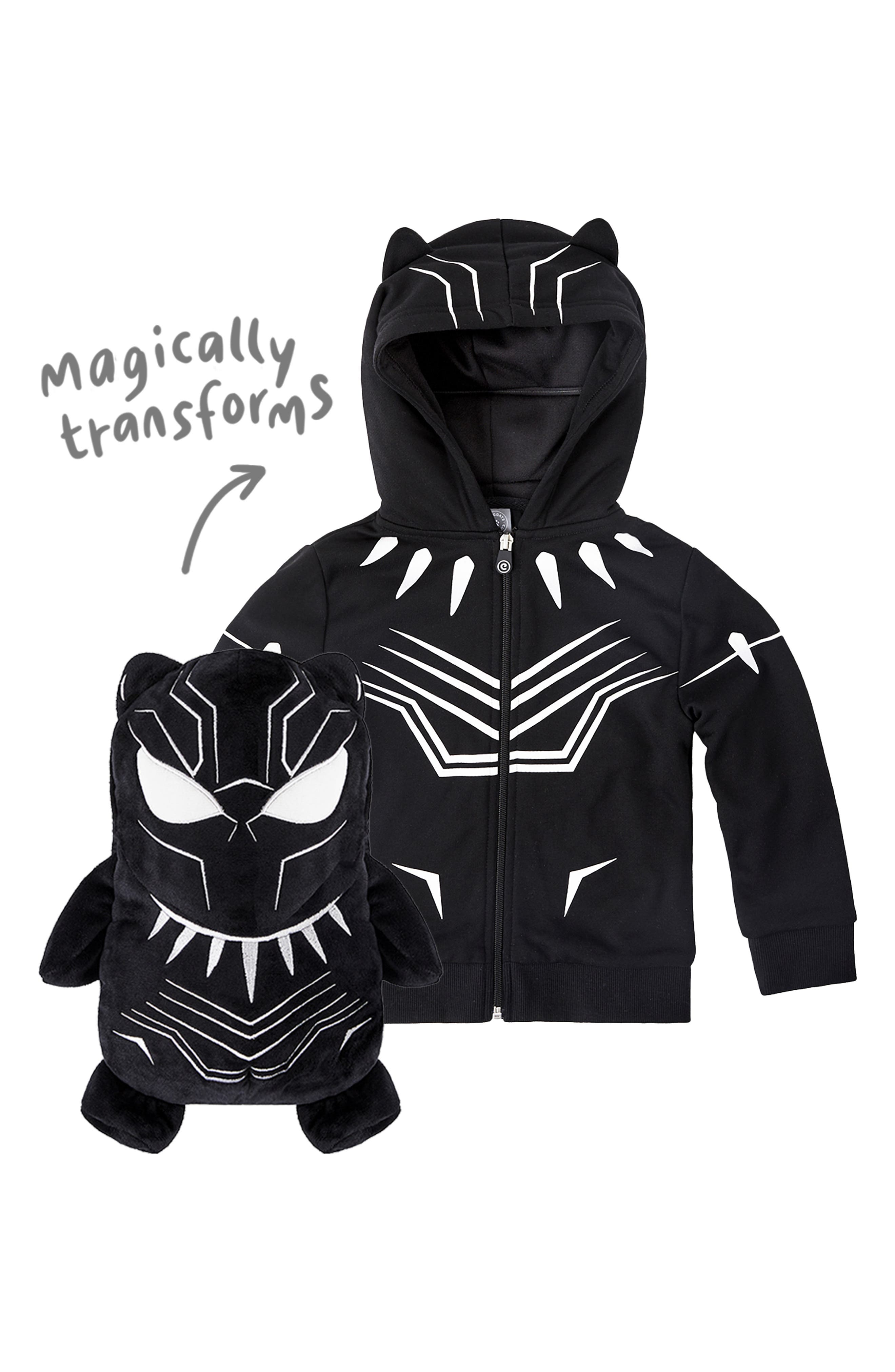 CUBCOATS, Marvel<sup>®</sup> 2018 Black Panther<sup>®</sup> 2-in-1 Stuffed Animal Hoodie, Alternate thumbnail 3, color, BLACK