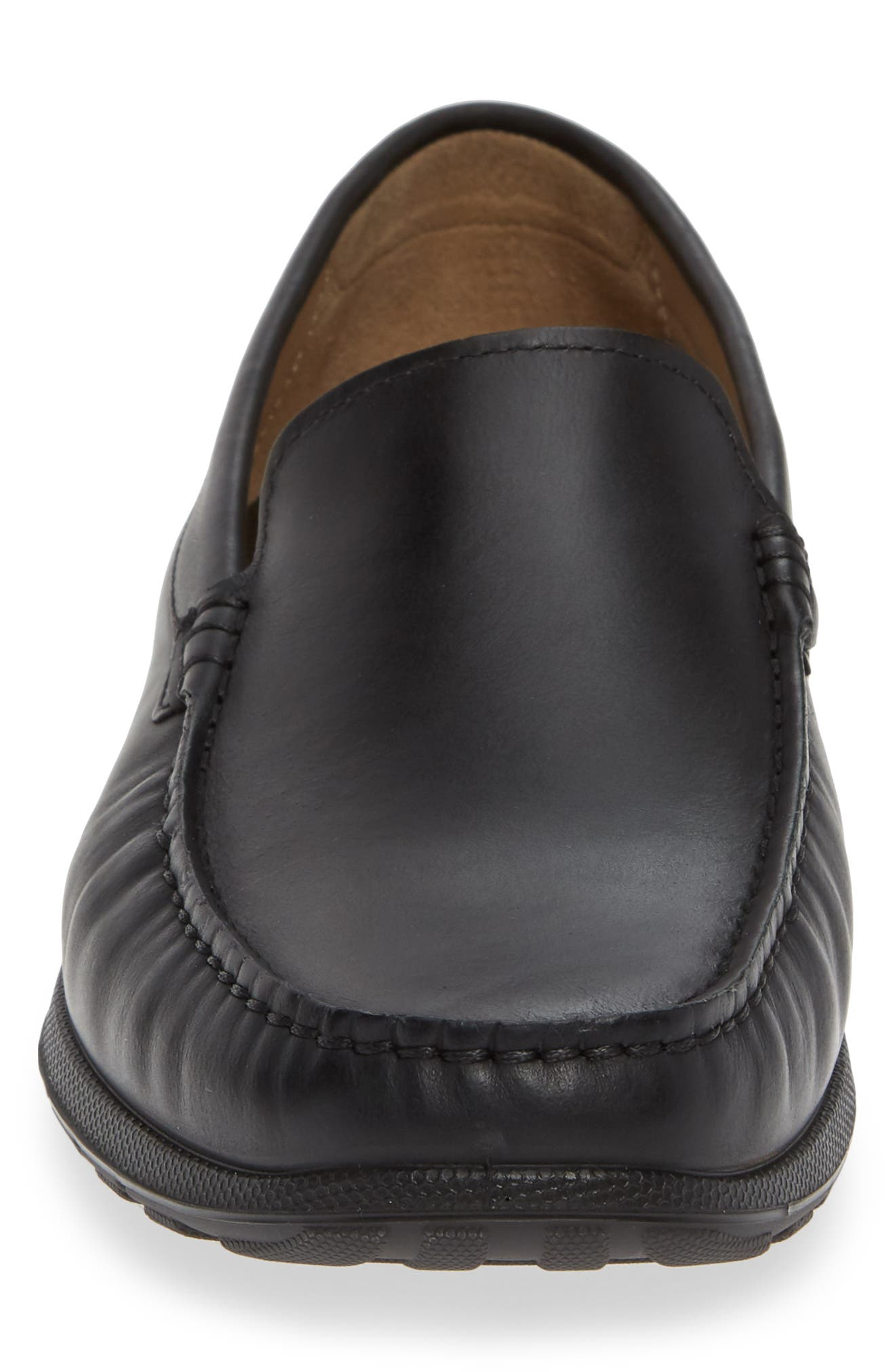ECCO, Dip Moc Toe Driving Loafer, Alternate thumbnail 4, color, BLACK LEATHER