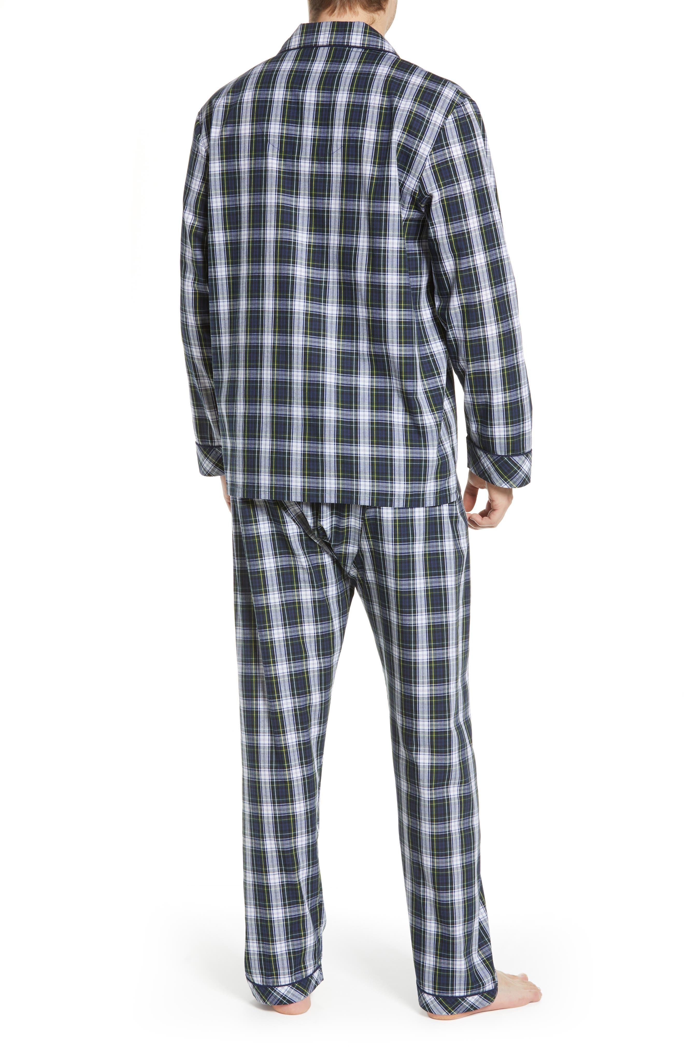 MAJESTIC INTERNATIONAL, Edward Easy Care Pajamas, Alternate thumbnail 2, color, GREEN